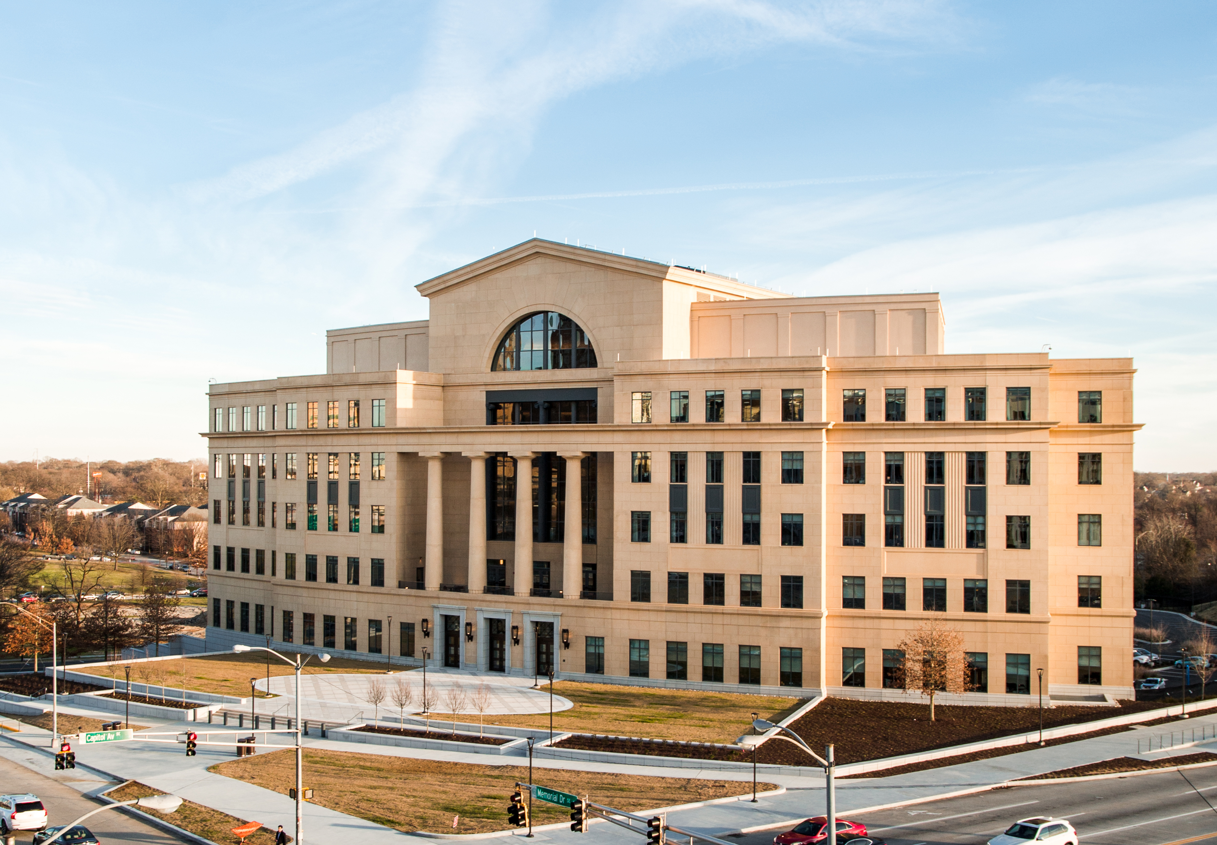 A exterior view of the new court building, with large columns and other classical features.