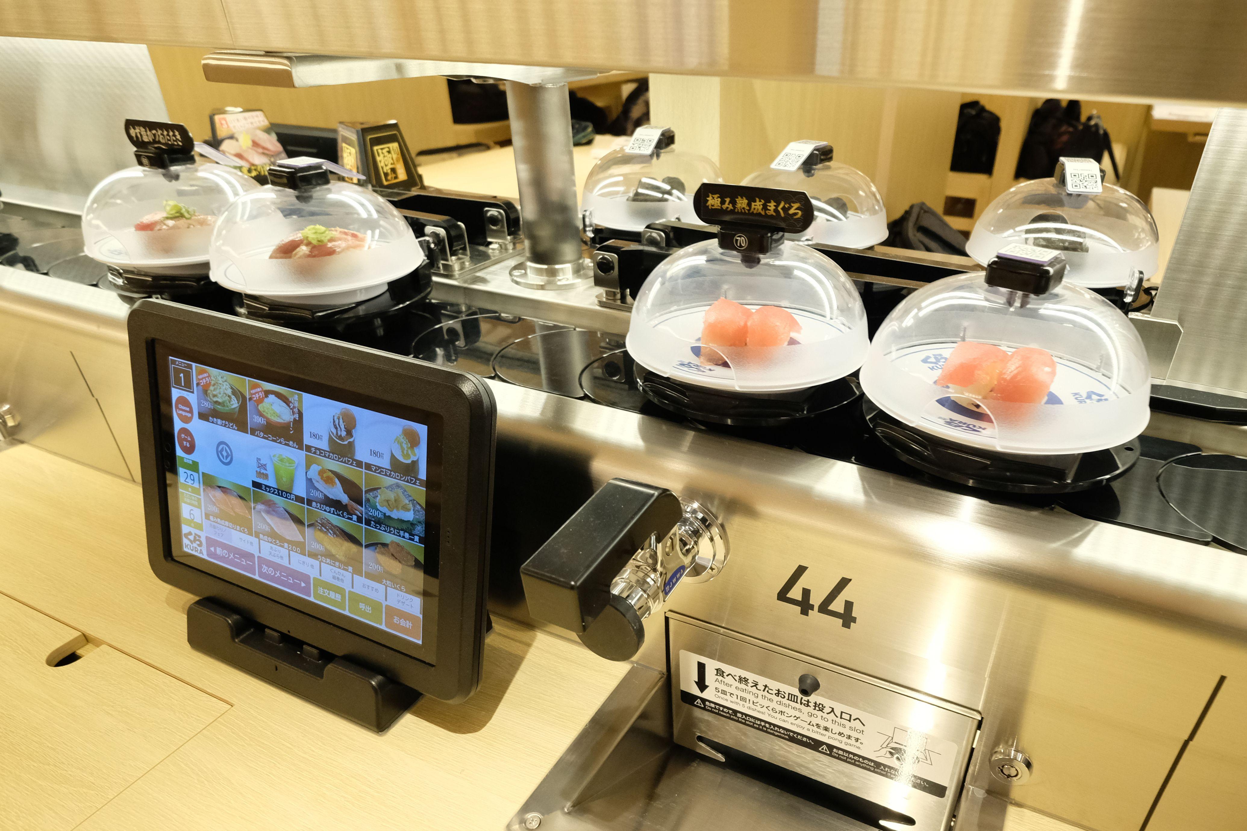 Conveyor belt sushi from Kura's flagship in Tokyo