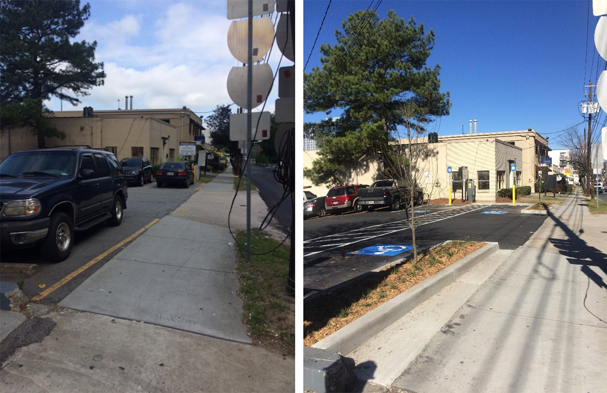 On the left, a typical surface parking lot, without protection for pedestrians. On the right, a crosswalk has been installed and medians separate the sidewalk from the lot.