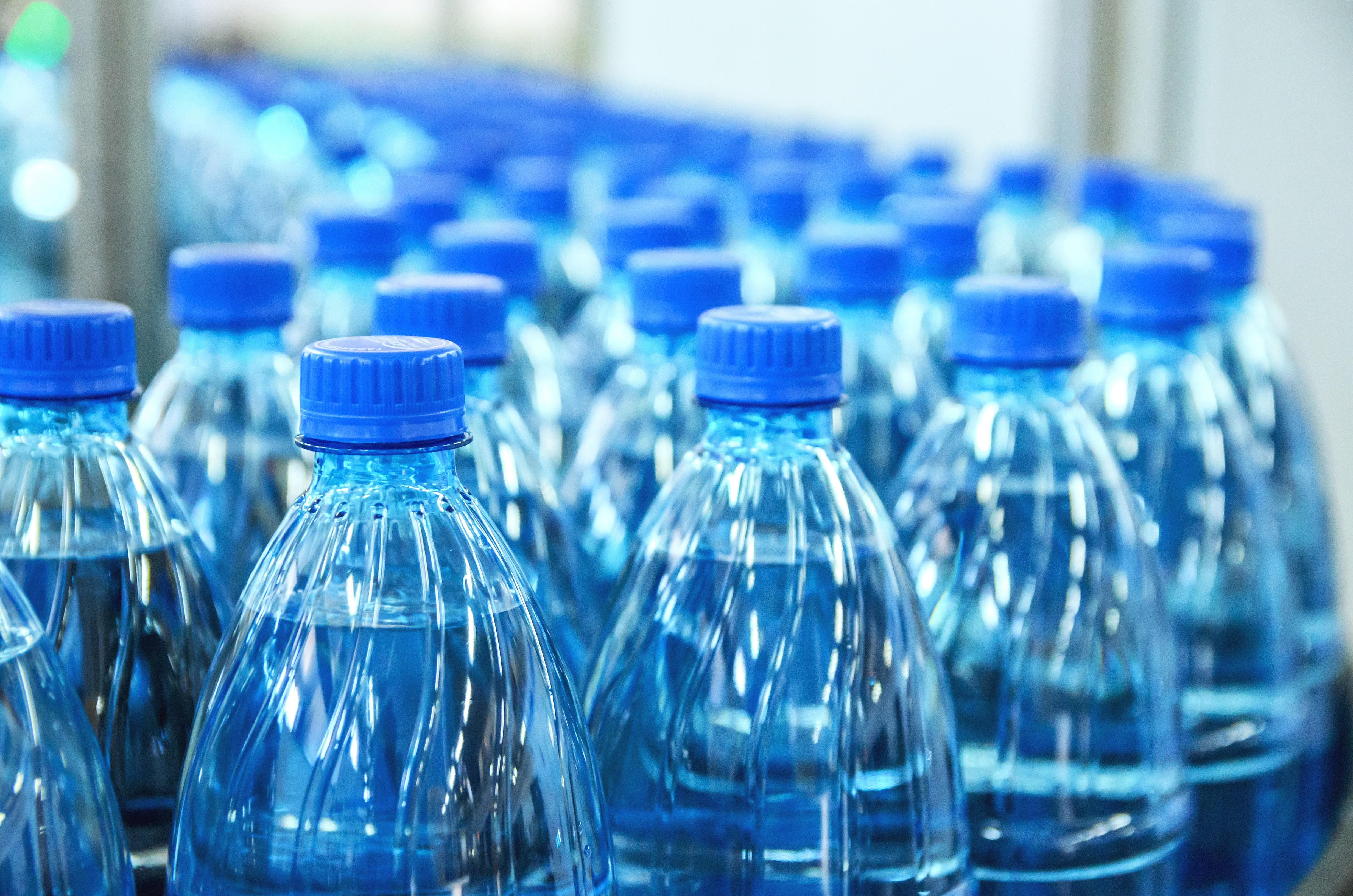 A row of bottled water