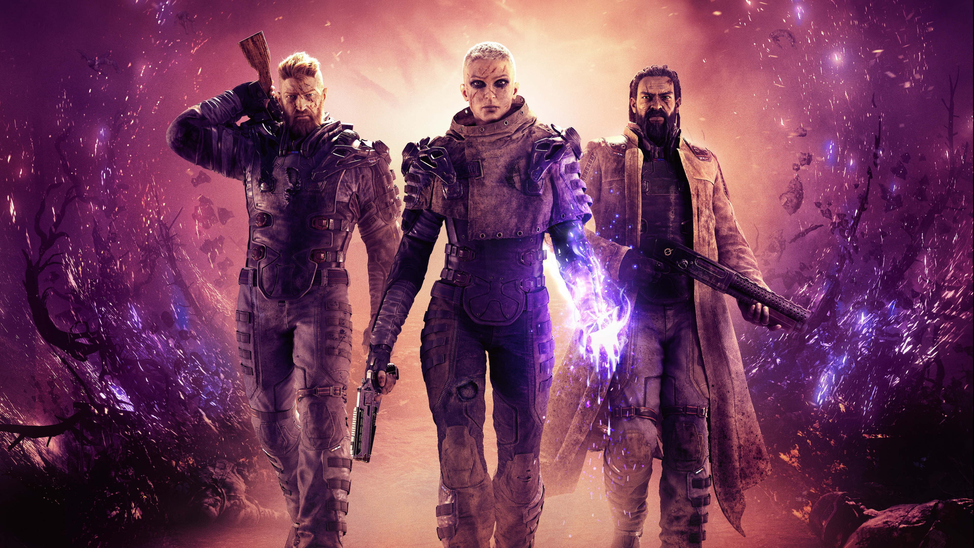 Character artwork of three futuristic soldiers from Outriders