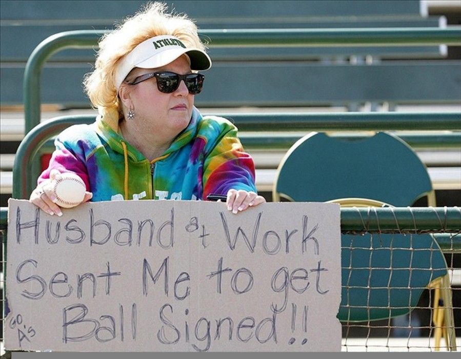 You can bring signs into Phoenix Municipal Stadium.