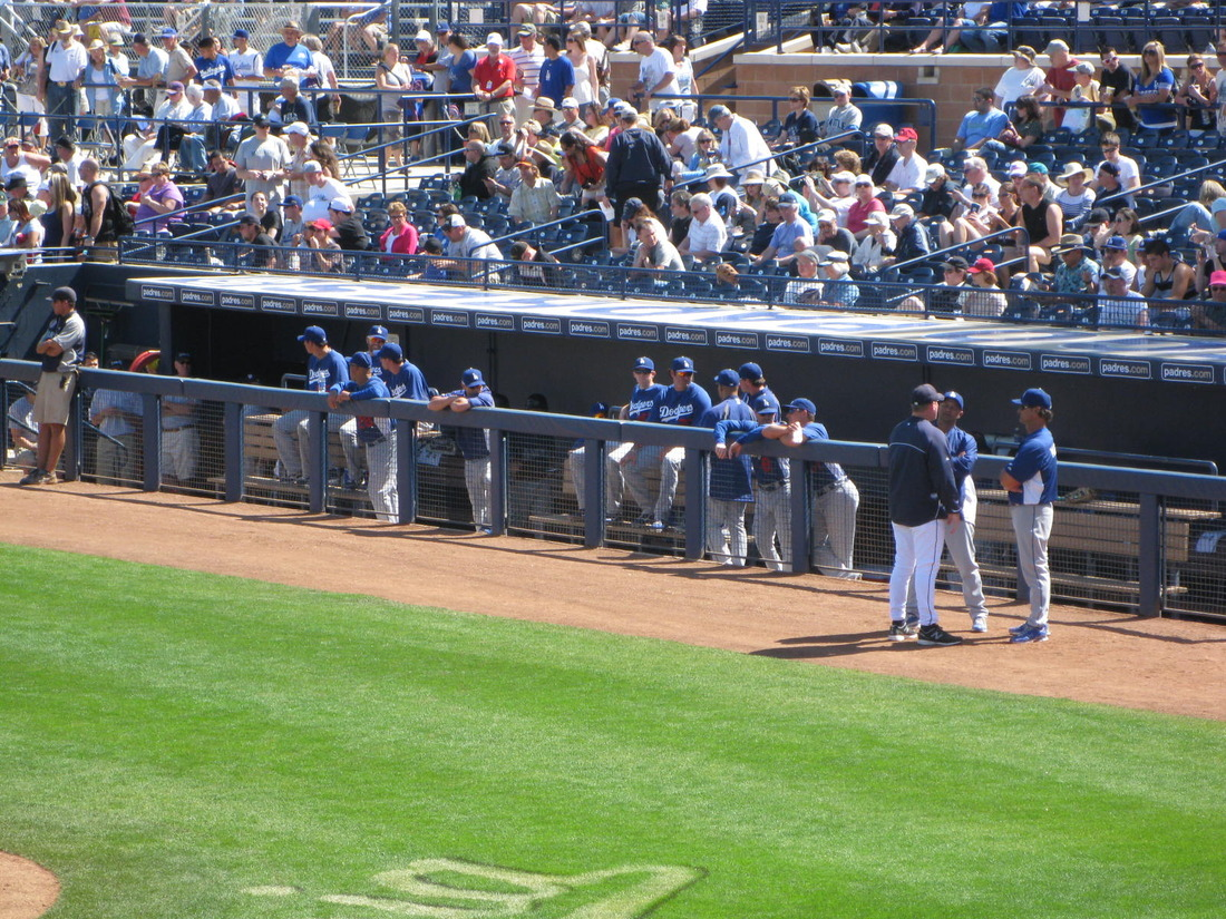 The Dodgers were in the first base dugout in Peoria, for the first time this spring.