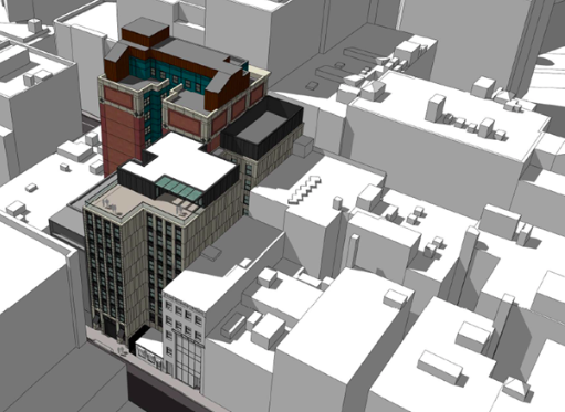 Aerial rendering of a new building popping up in a dense city streetscape.