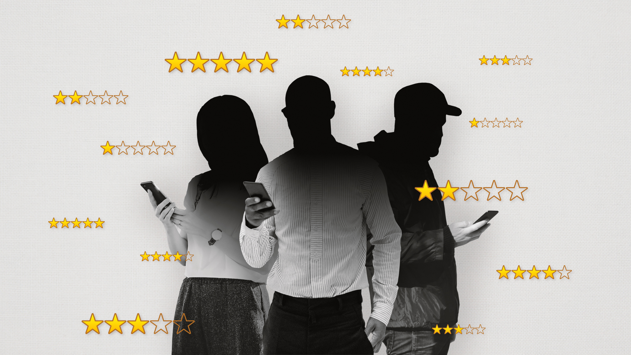 Three anonymous figures on their phones with Amazon product star ratings surrounding them.