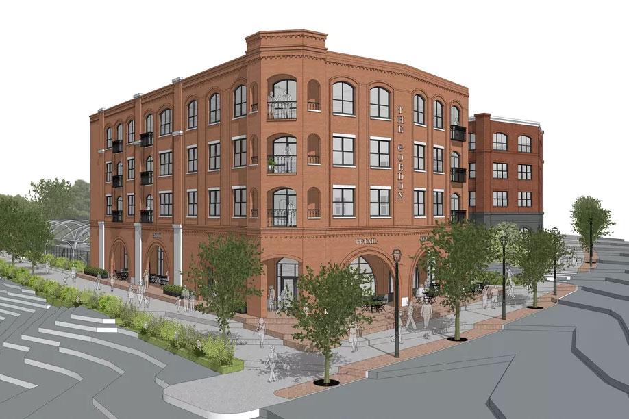 Rendering of brick-clad multi-story building.