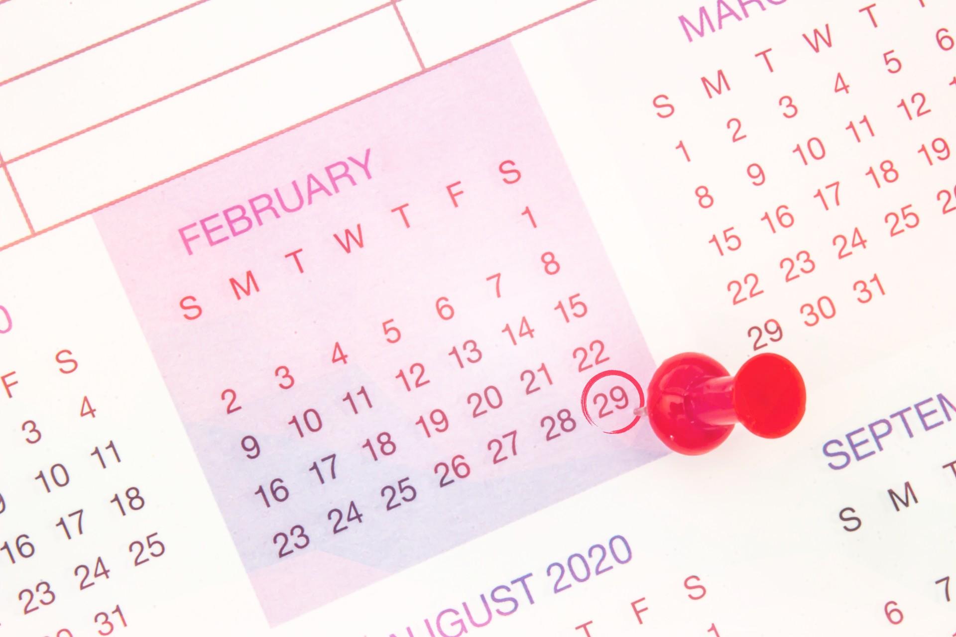 Calendar showing February 29.