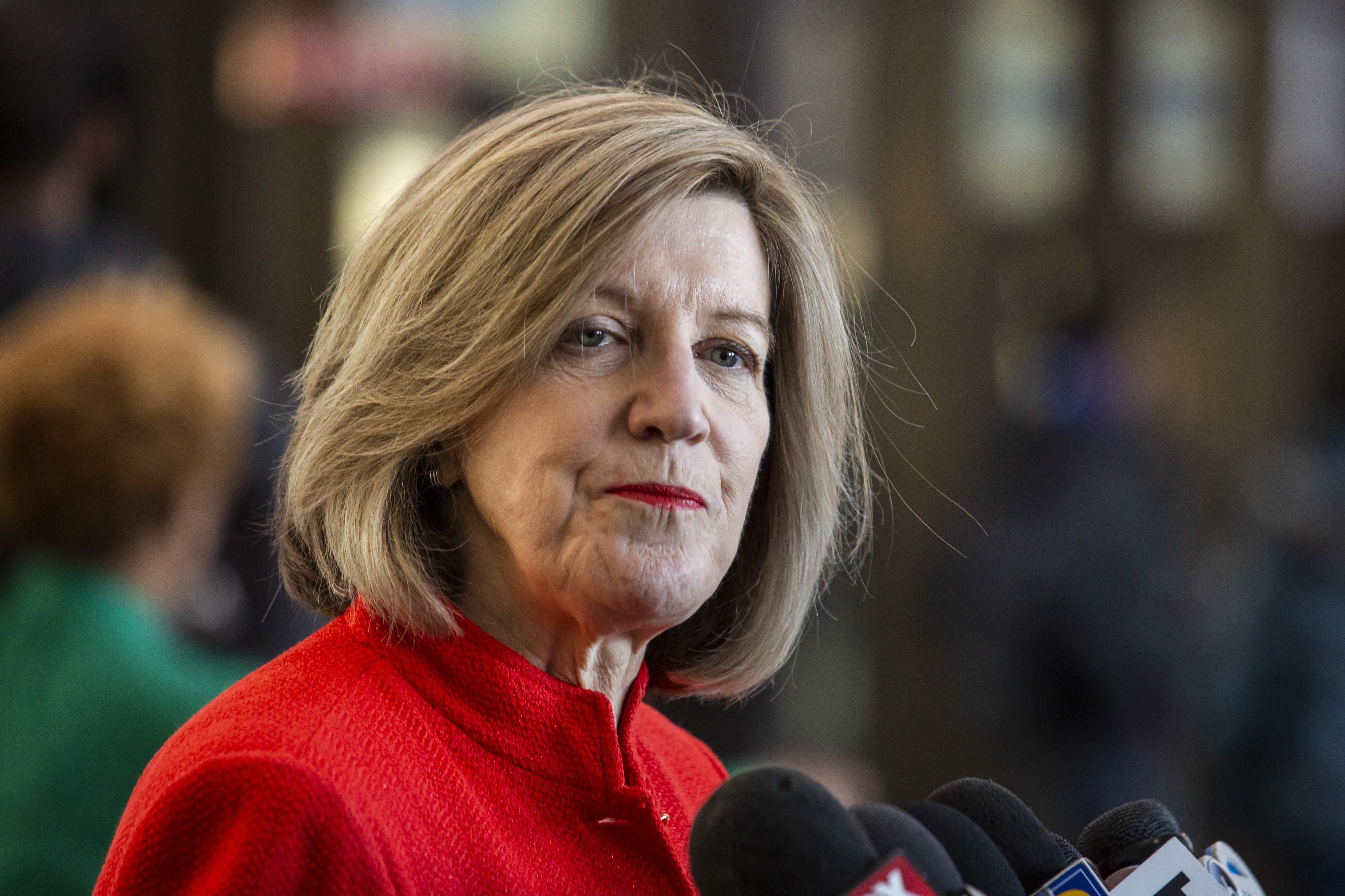 Retired judge Sheila O'Brien, whose activism led to a special prosecutor investigation of 'Empire' actor Jussie Smollett, speaks to reporters at the Leighton Criminal Courthouse, Friday morning, Feb. 14, 2020. During a hearing Friday, Judge Michael Toomin barred O'Brien from filing motions as the ongoing special prosecutor probe continues.