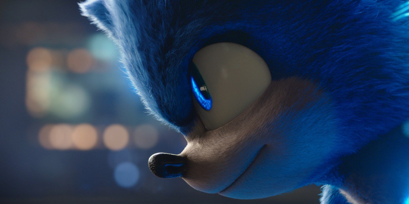 Sonic looks at the camera in the Sonic the Hedgehog movie.