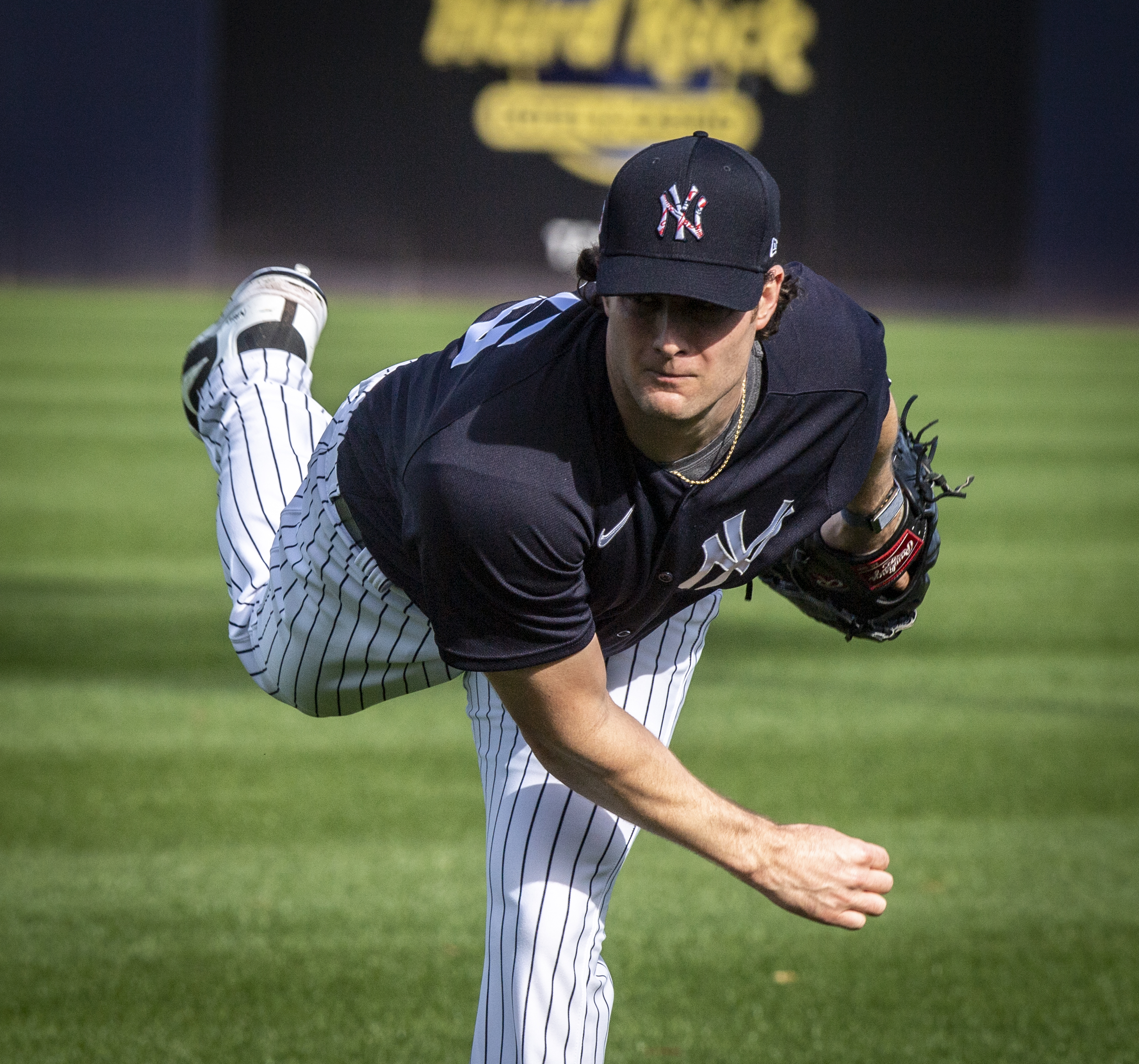 New York Yankees pitcher Gerrit Cole warms up at spring training 2020