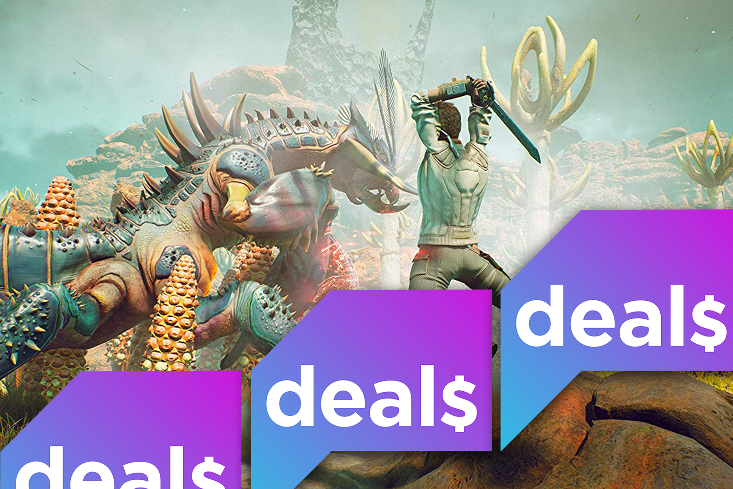 The Polygon Deals laid over a screenshot from The Outer Worlds