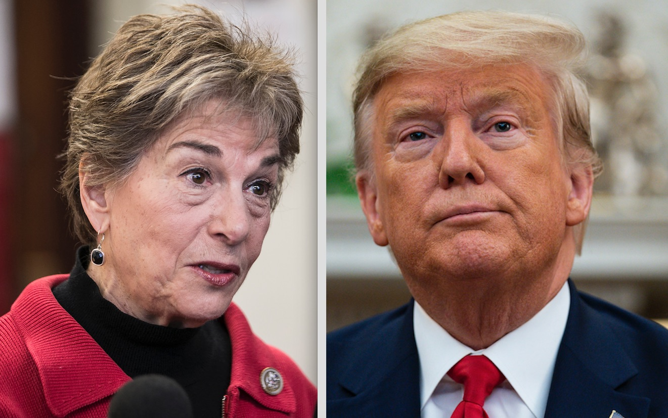 Rep. Jan Schakowsky,left, in  2018; President Donald Trump, right, on Wednesday. File photos.