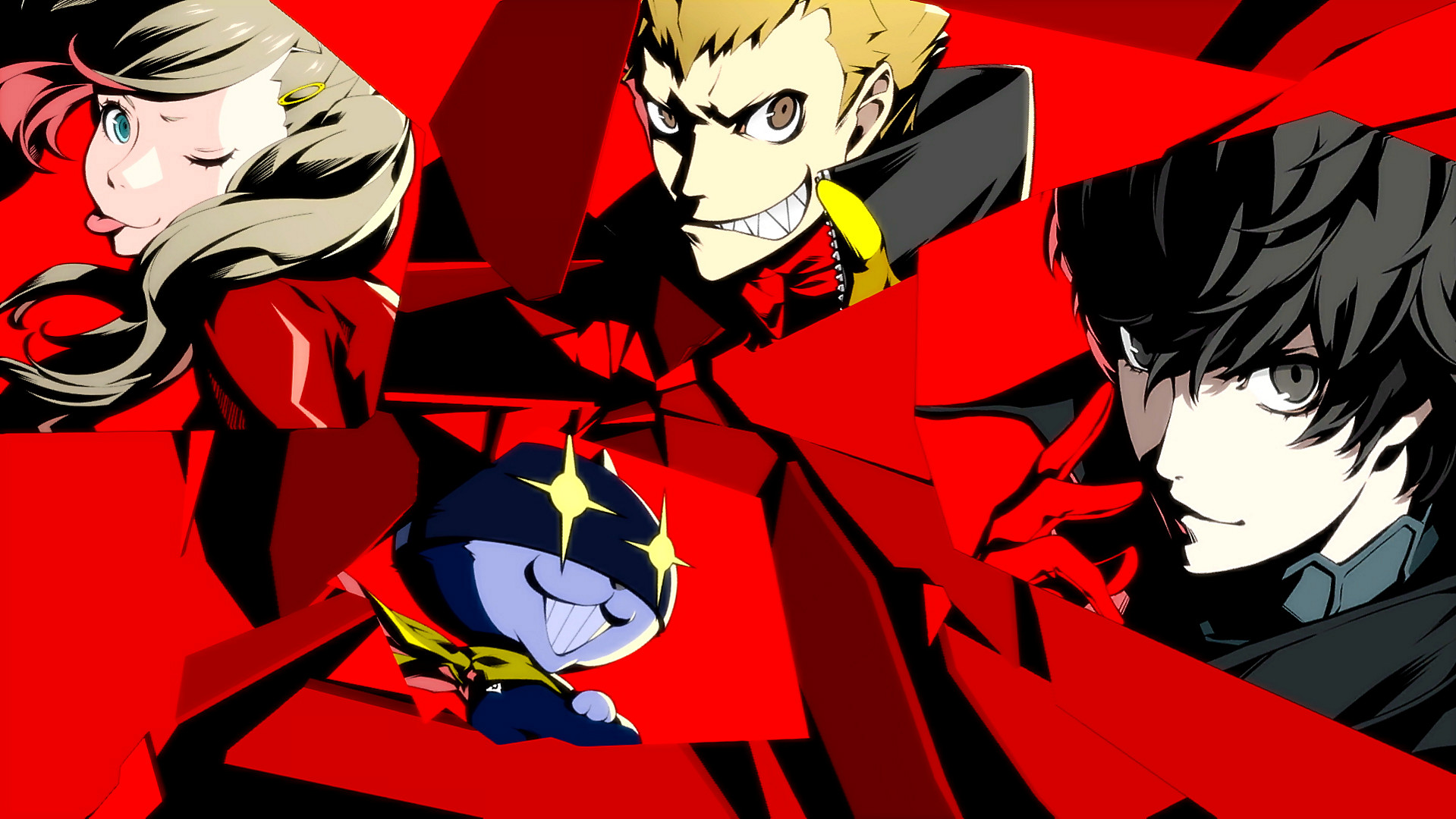 Artwork of Joker, Morgana, Ryuji, and Ann from Persona 5 Royal