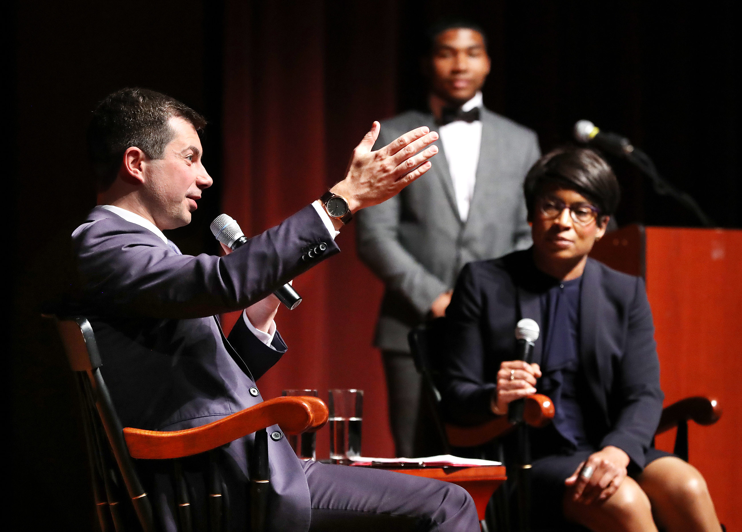Presidential hopeful Pete Buttigieg, mayor of South Bend, Indiana, talks with Dr. Adrienne Jones at Morehouse College in Atlanta, on Nov. 17 last year as part of an effort to win over black voters.
