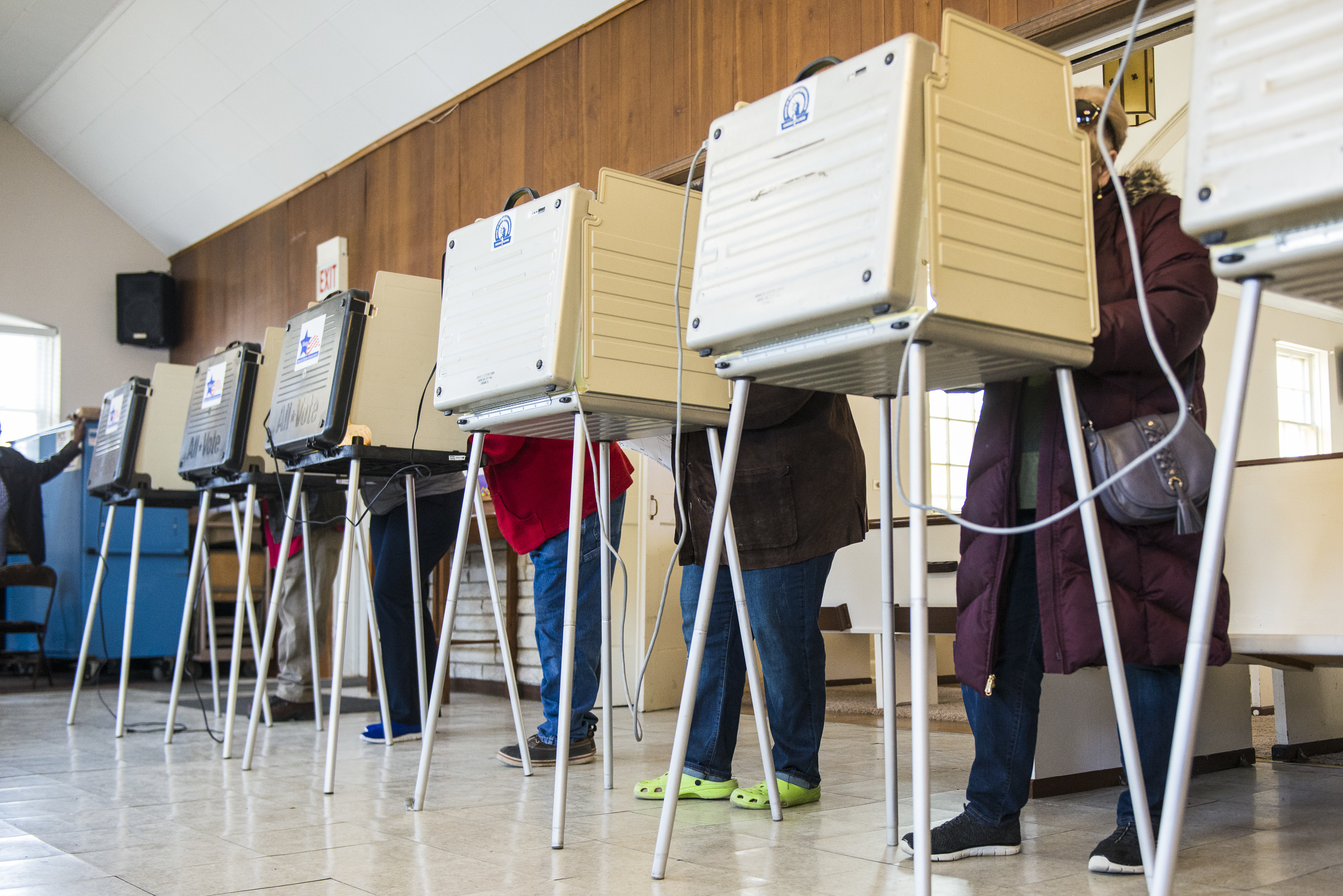 Voters cast their ballots at the Galewood Community United Church in the 29th Ward in March. Over 1 million people have requested to vote by mail in the November general election.