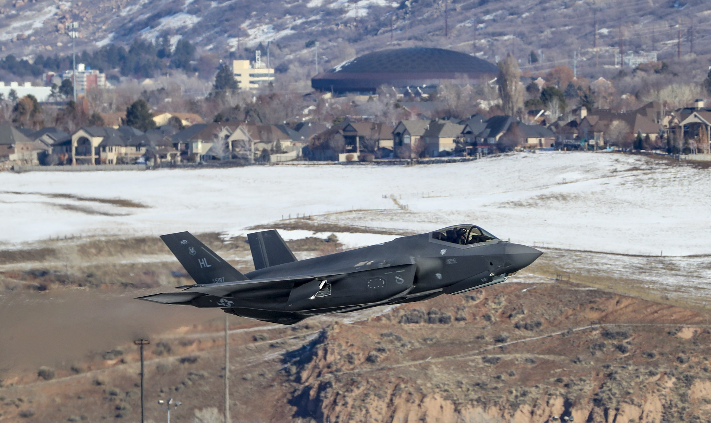 An F-35A Lightning II from Hill Air Force Base's 388th and 419th fighter wings climbs into the sky during a combat power exercise at the base near Ogden on Monday, Jan. 6, 2020. During the exercise, 52 F-35A Lightning IIs launched within a condensed period of time.