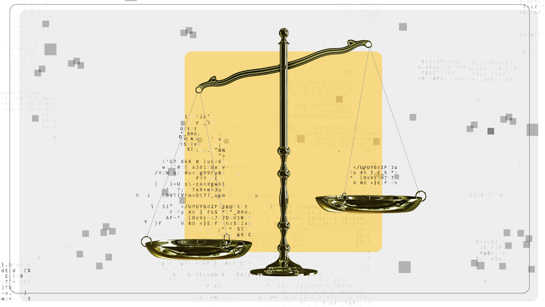 An illustration of old-fashioned balance scales weighing data in their pans.