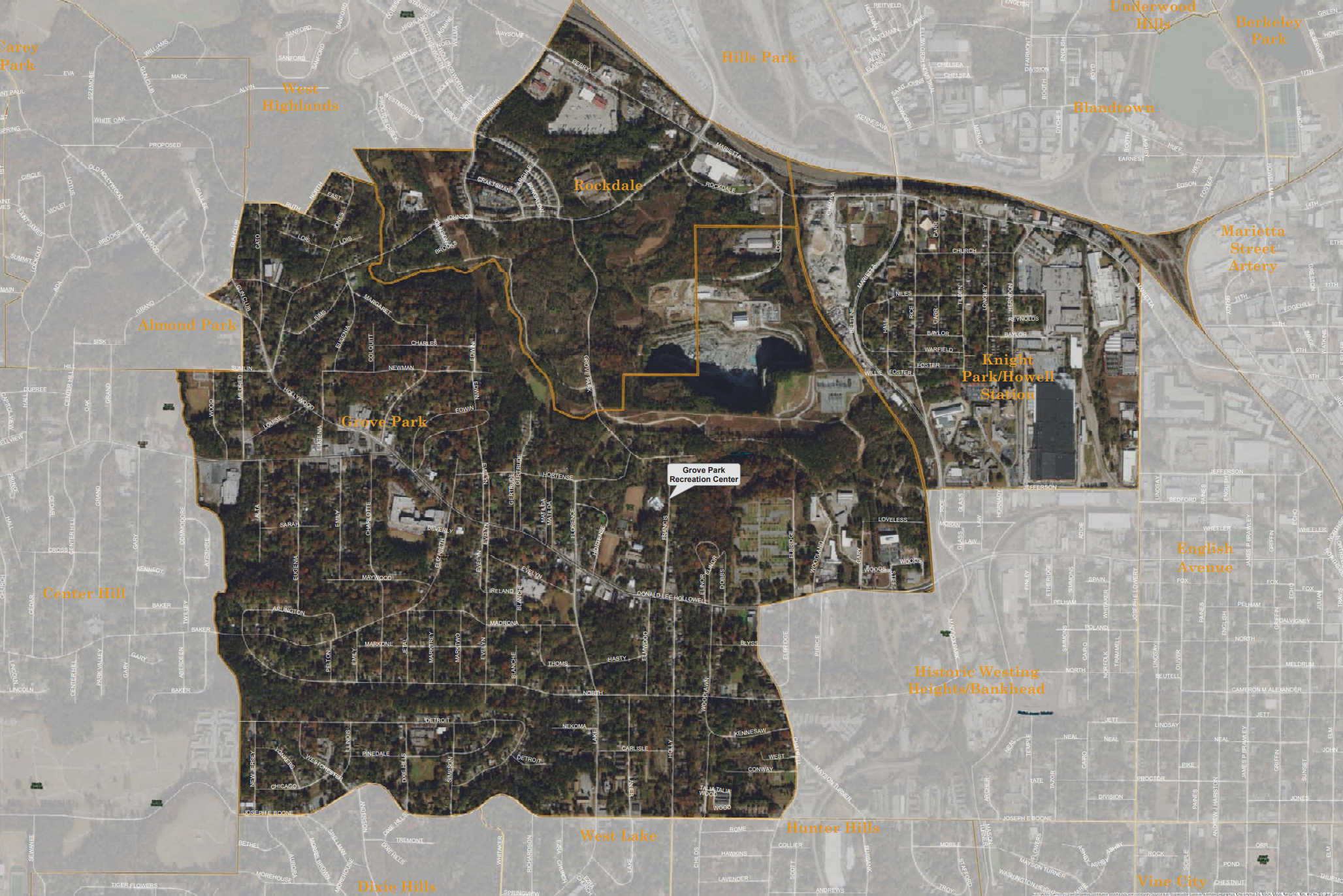 A map illustrates the area impacted by the development trends of the Westside Park.