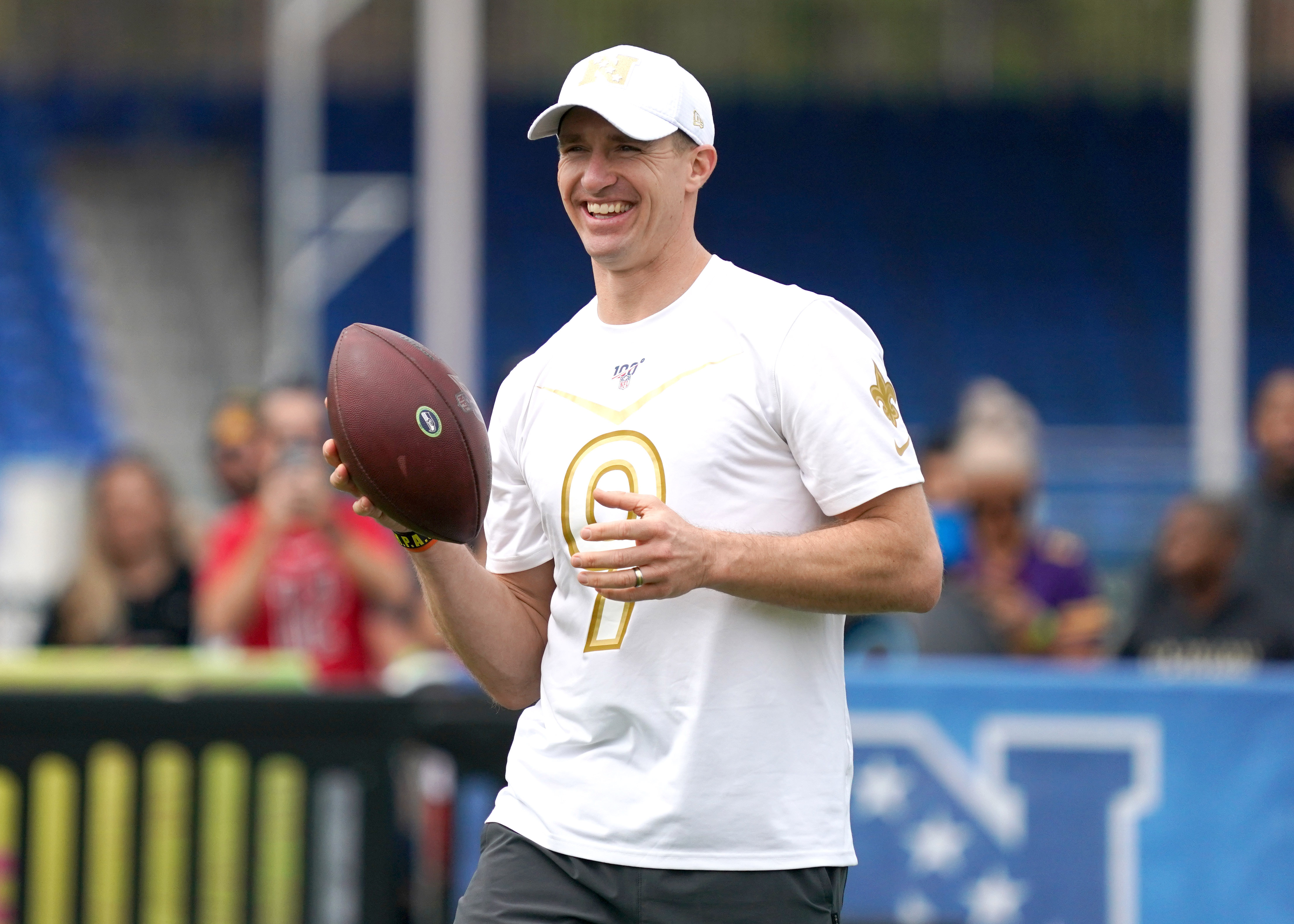 New Orleans Saints quarterback Drew Brees during NFC practice at ESPN Wide World of Sports.