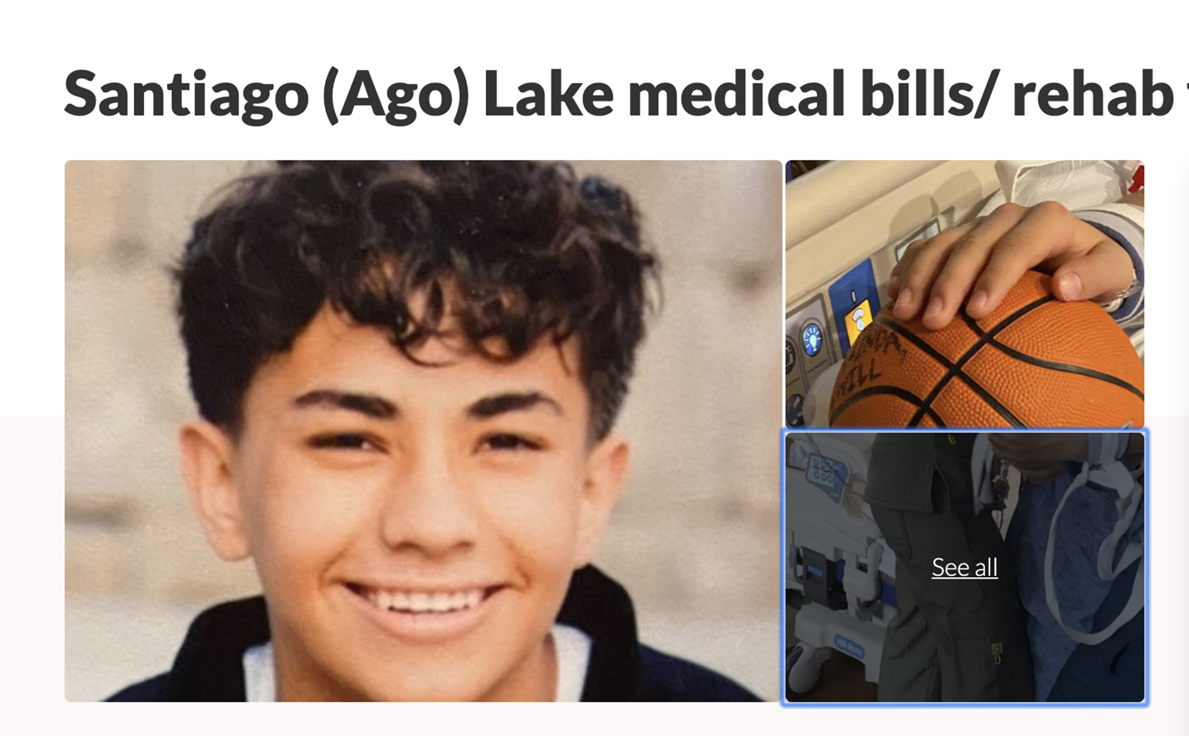 "Santiago ""Ago"" Lake, 15, is pictured in this screenshot from a GoFundMe page set up to help his family with medical costs after he suffered serious injuries in a confrontation with another 15-year-old boy, a teammate on Alta High School's sophomore basketball team."