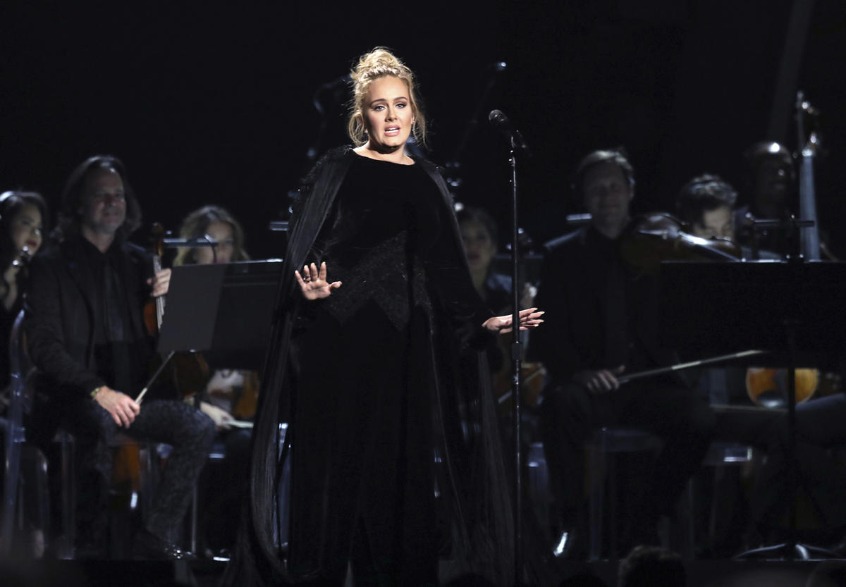 Adele performs a tribute to George Michael at the 59th annual Grammy Awards on Feb. 12, 2017, in Los Angeles.