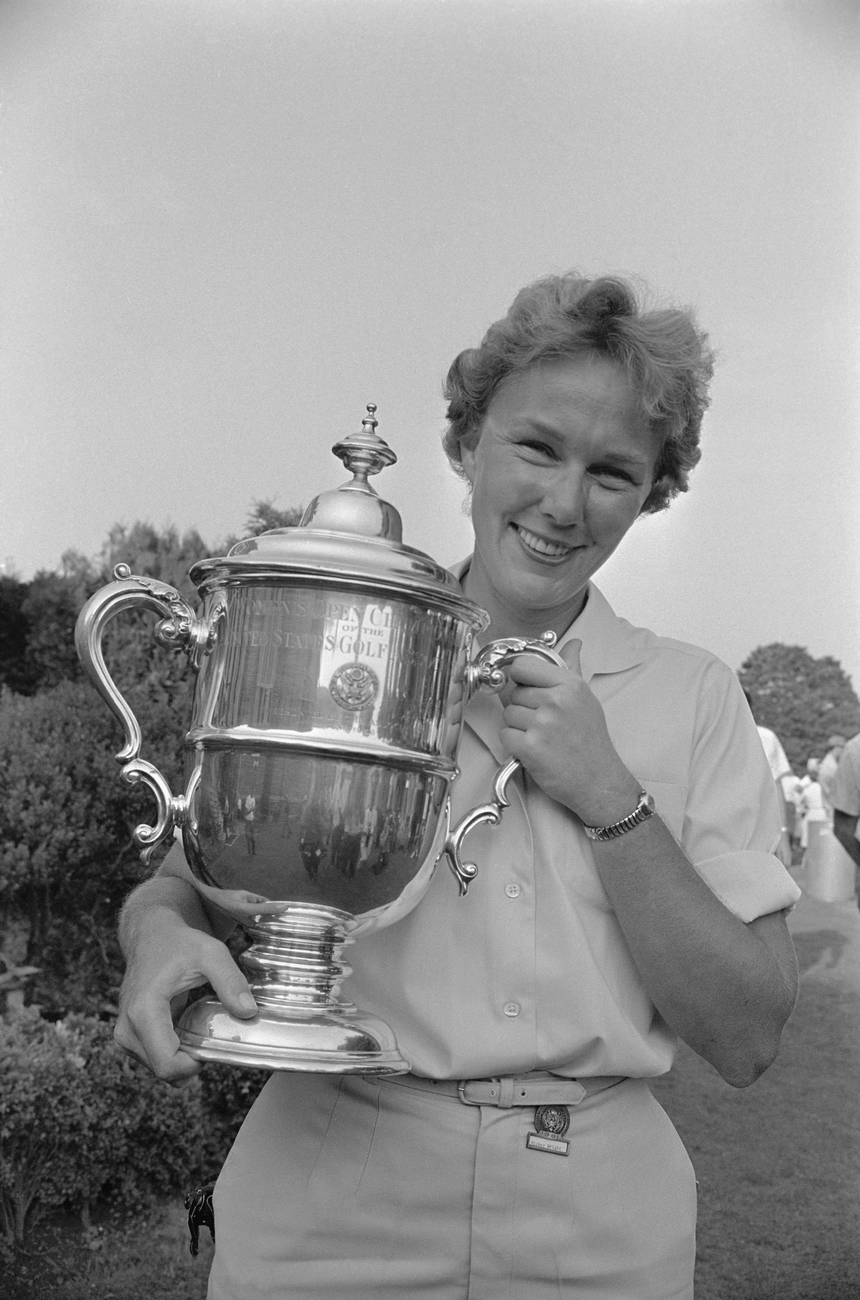 US Women's Open Golf Champion Mickey Wright Holding Trophy