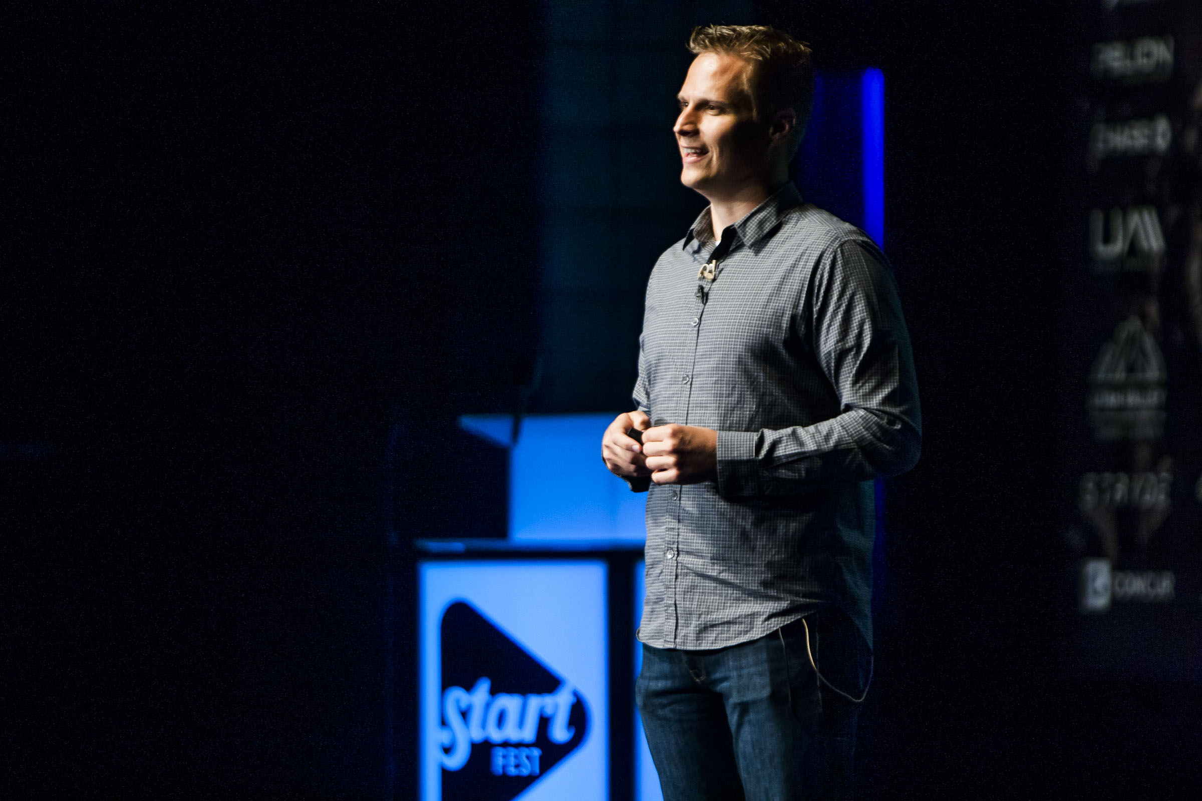 Dave Bateman, CEO of Entrata, speaks during StartFEST at the Covey Center for the Arts in Provo on Wednesday, Sept. 2, 2015.
