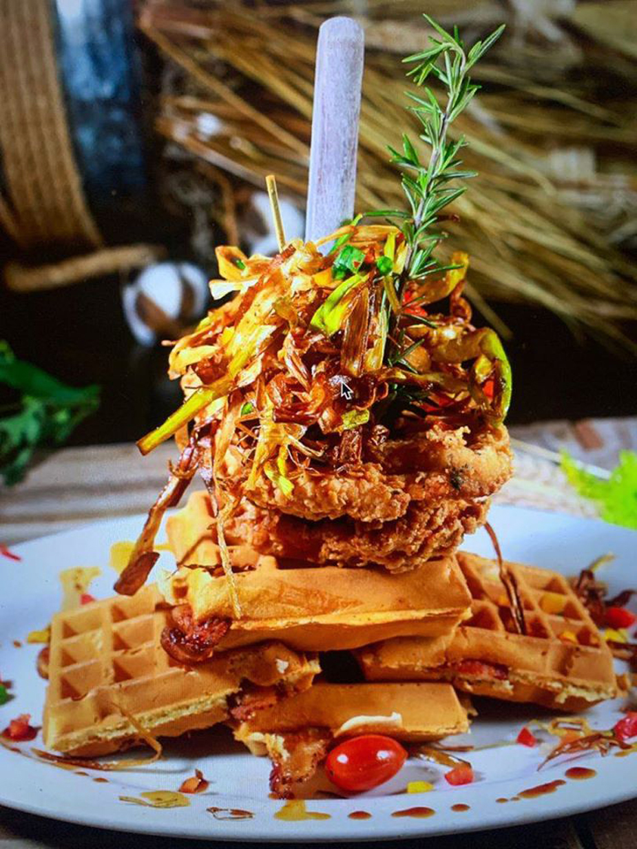 Sage fried chicken and waffles at Hash House A Go Go.