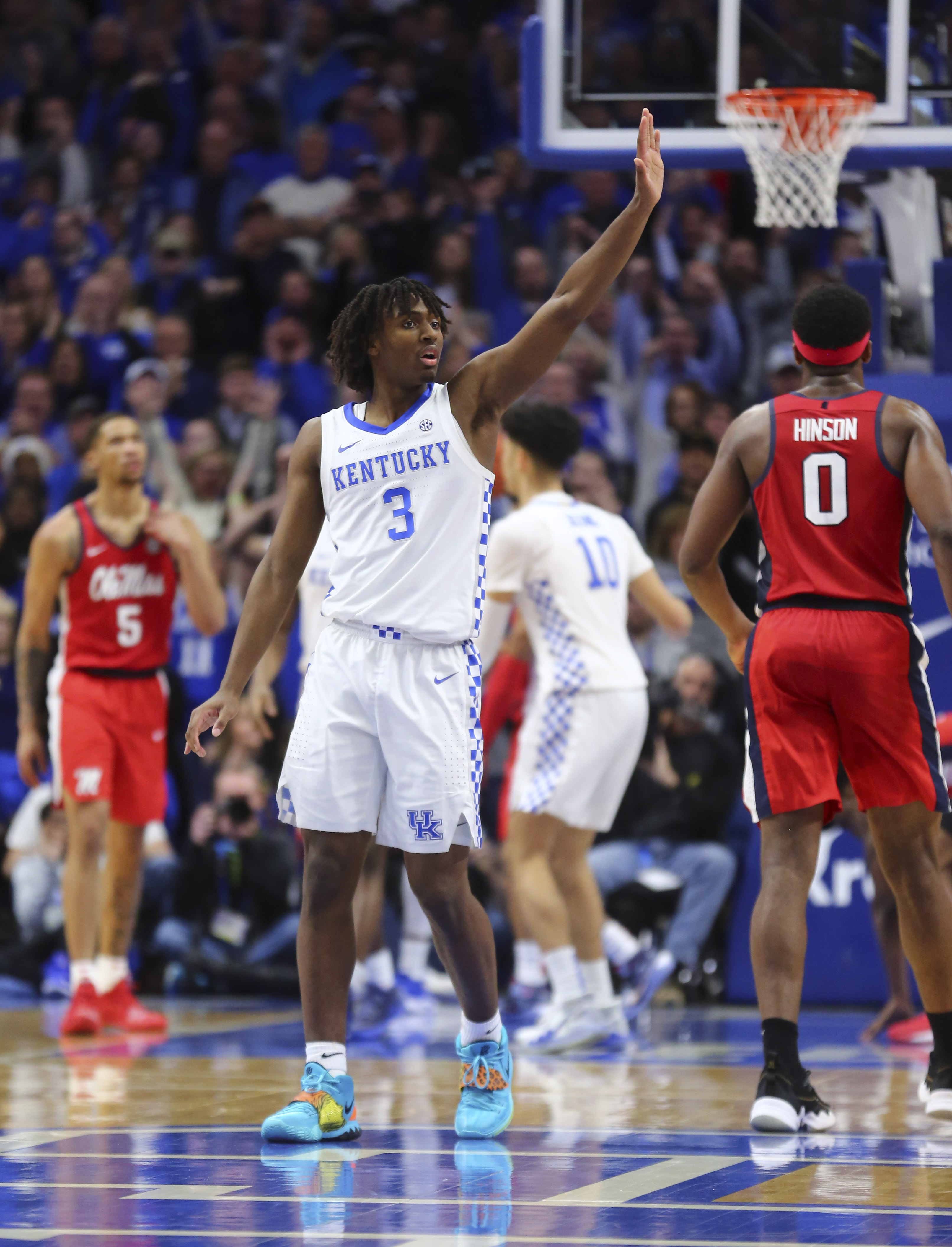 Kentucky Wildcats guard Tyrese Maxey celebrates during the game against the Ole Miss Rebels in the second half at Rupp Arena.