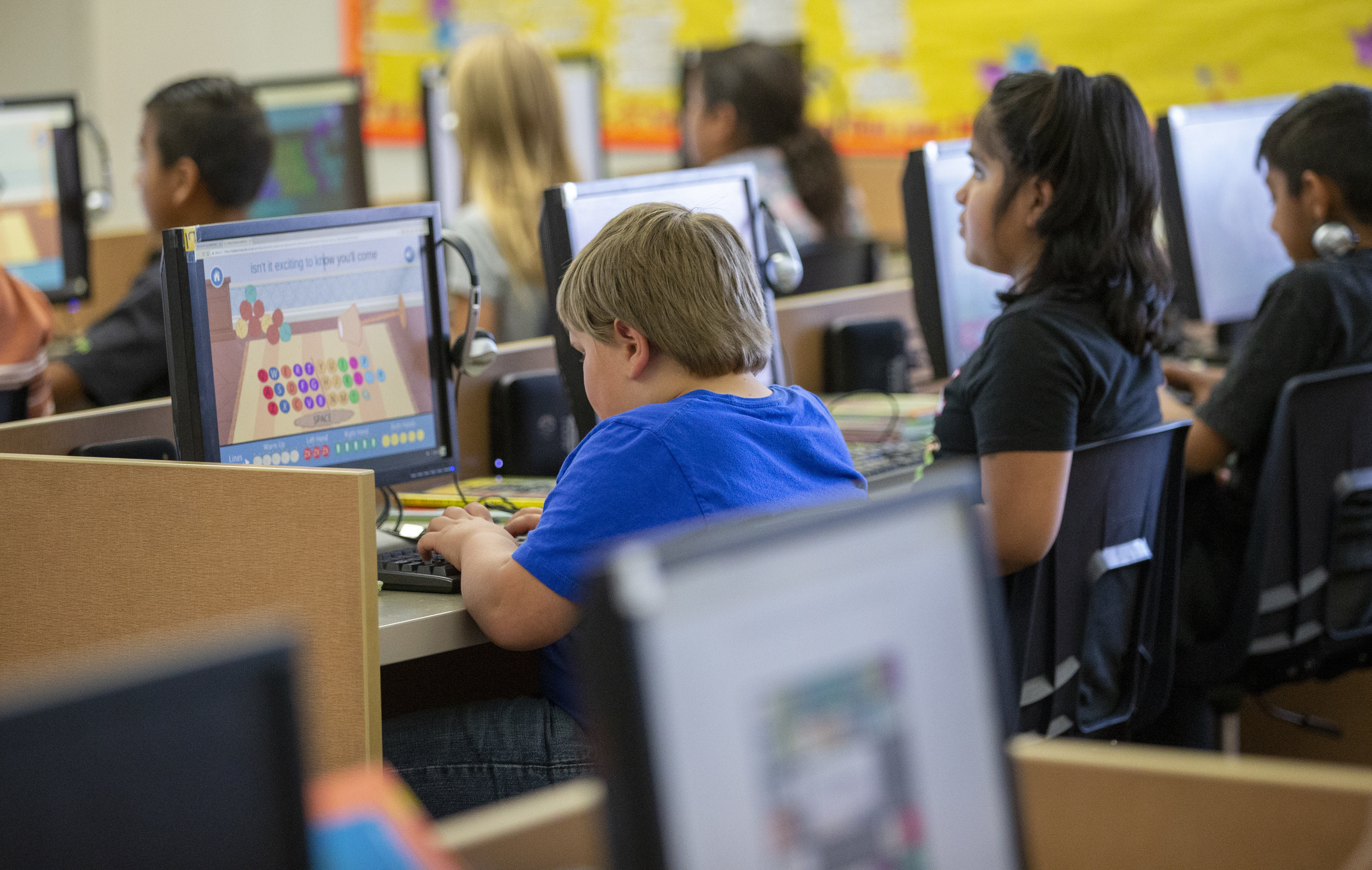 Students work on computers at Beaver School District's Belknap Elementary School.