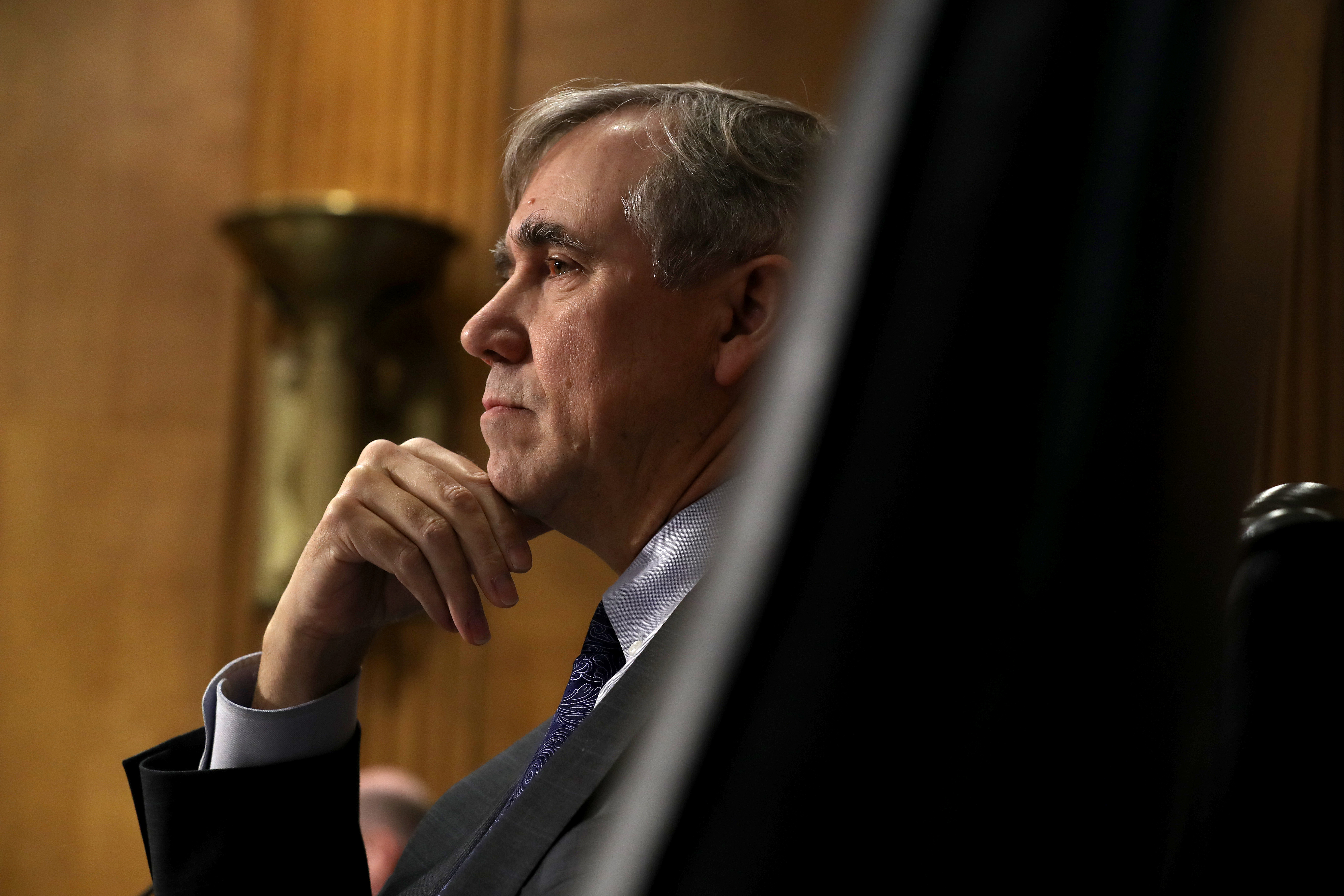 Senate Foreign Relations Committee member Senator Jeff Merkley questions witnesses during a hearing about US-Russia relations in the Dirksen Senate Office Building on Capitol Hill on December 3, 2019, in Washington, DC.