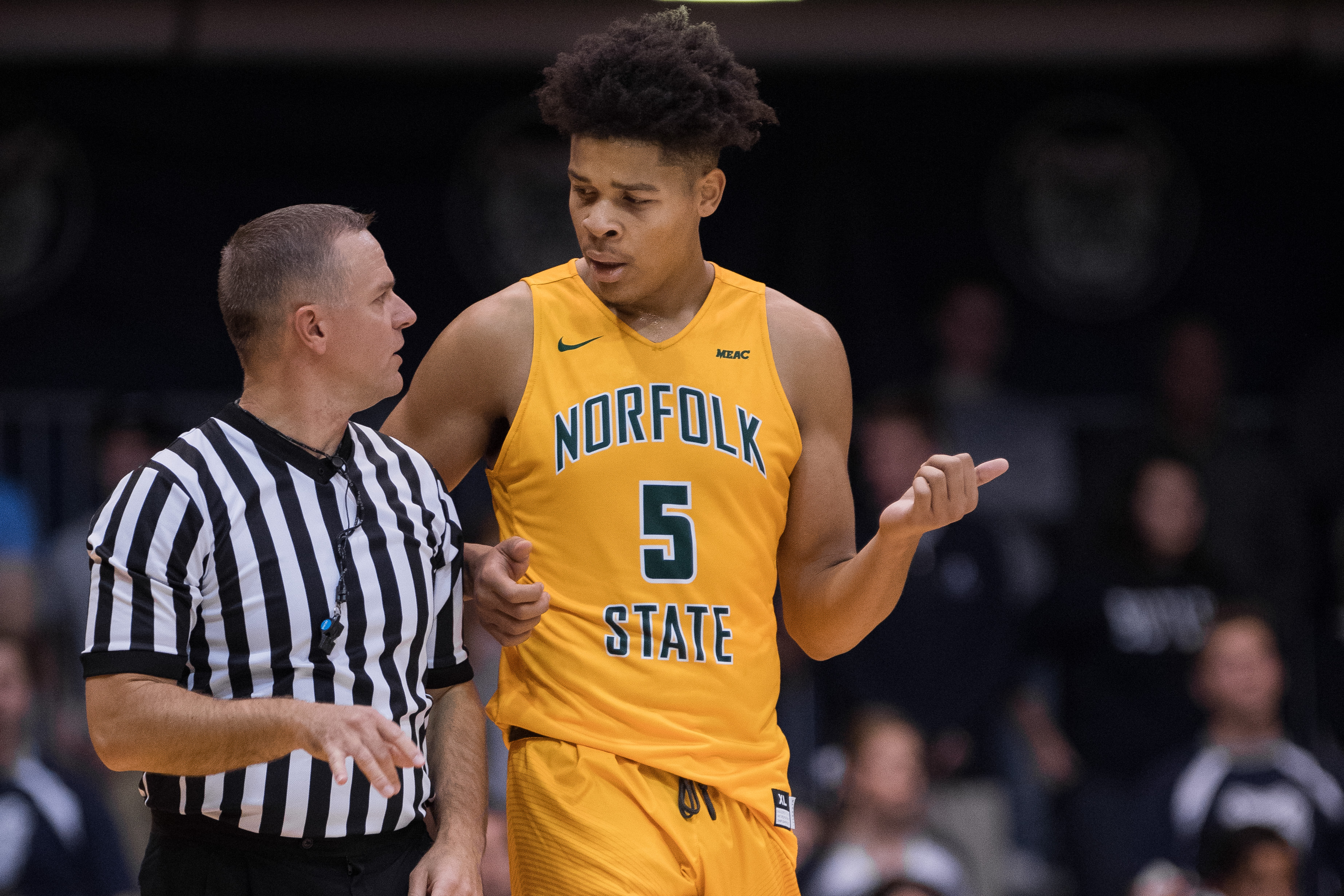 Norfolk State Spartans center Bryan Gellineau talks to a official during the NCAA men's basketball game between the Butler Bulldogs and Norfolk State Spartans on November 21, 2016, at Hinkle Fieldhouse in Indianapolis, IN.