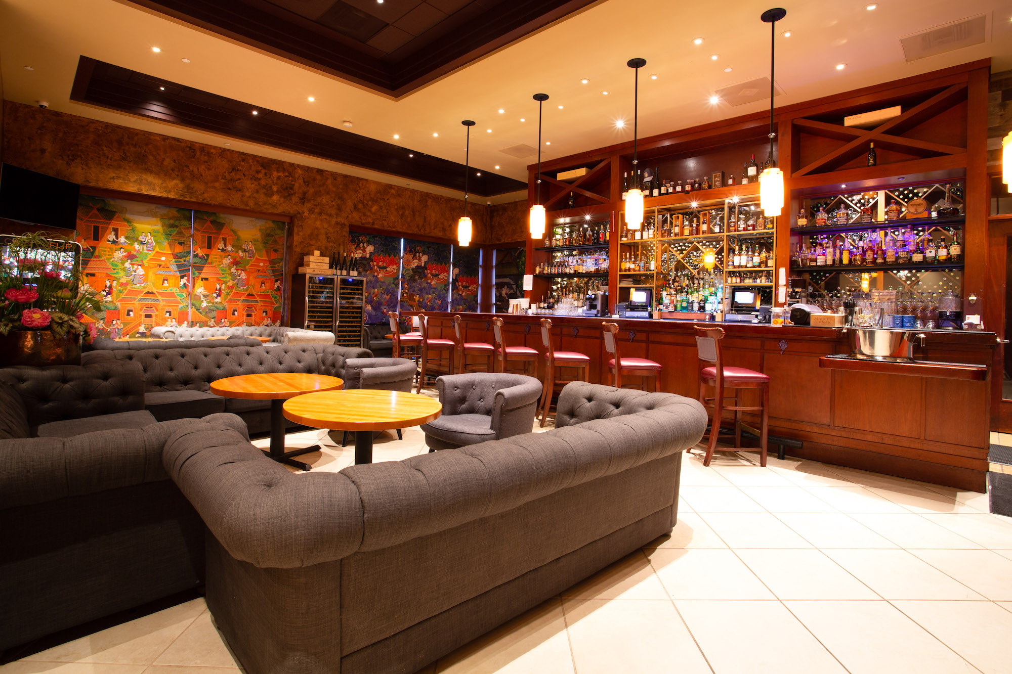 The bar at Lotus of Siam on Flamingo Road