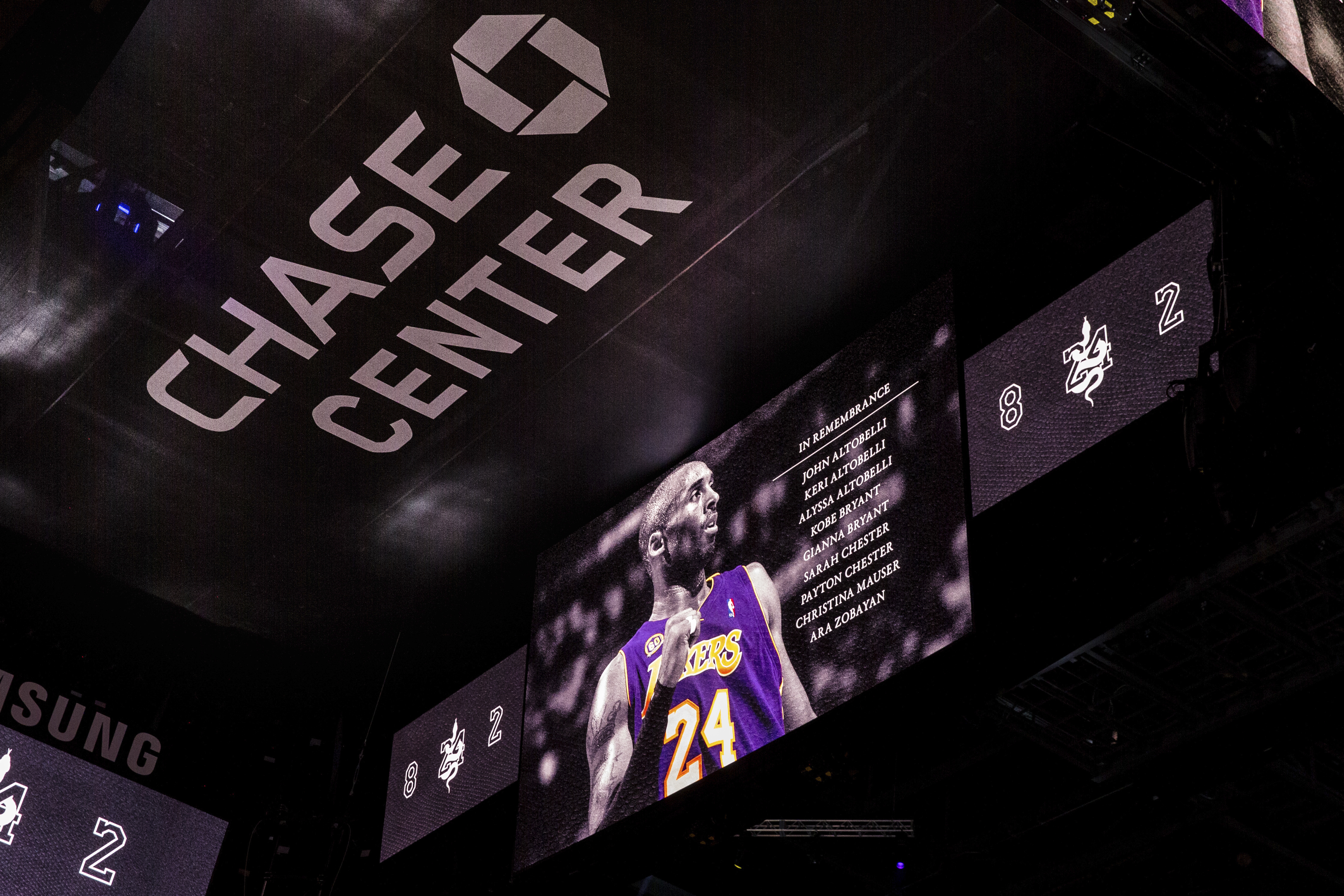 A memorial is presented for former Lakers player Kobe Bryant before an NBA basketball game between the Golden State Warriors and the Los Angeles Lakers in San Francisco Saturday, Feb. 8, 2020. The Lakers won 125-120.