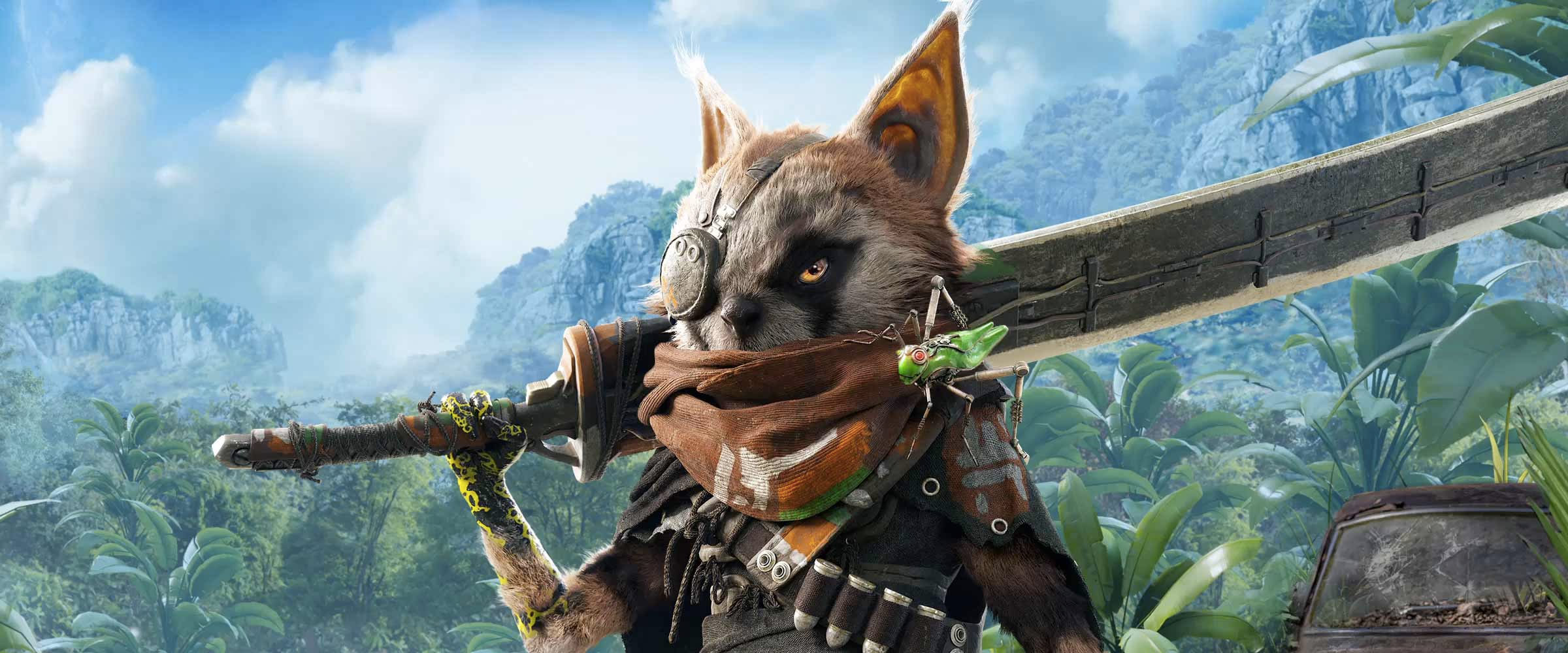 Artwork of the main character of BioMutant and his grasshopper-like sidekick