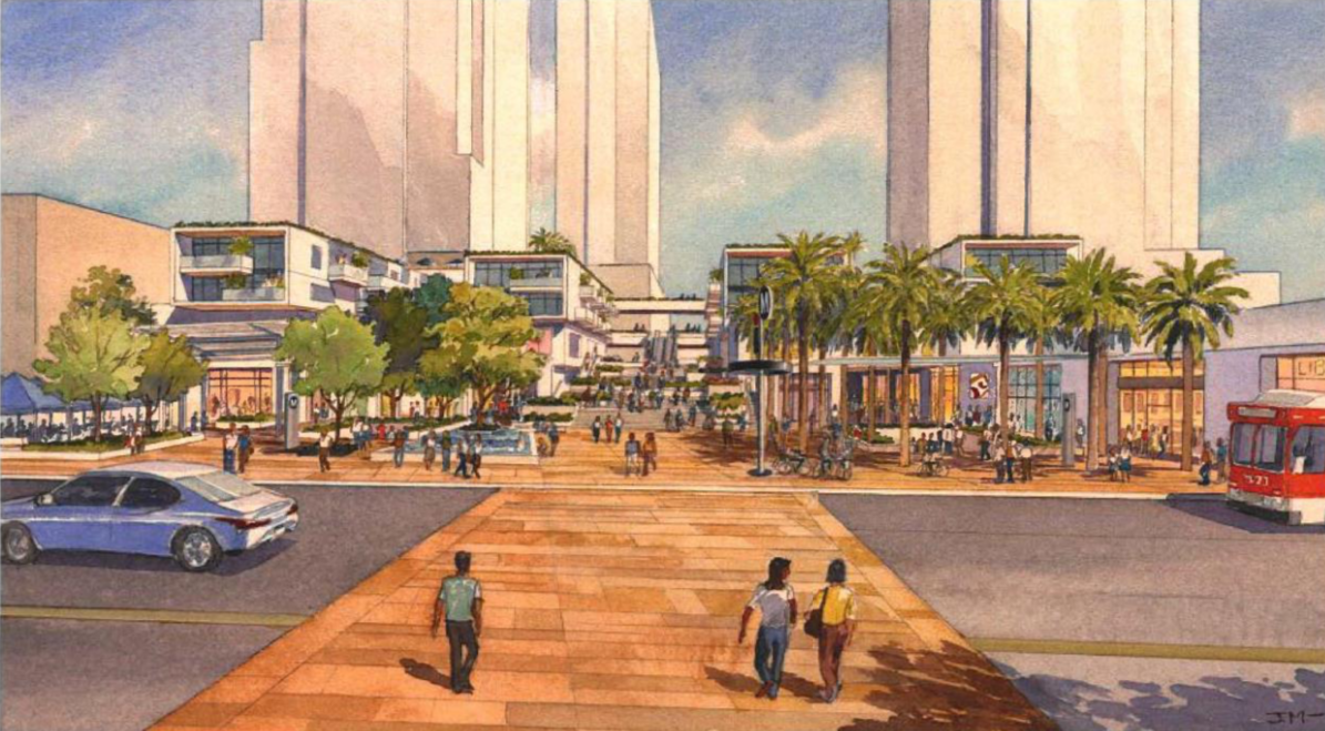 A watercolor image of pedestrians walking along a wide paseo-style street crossing toward a new development with low-rise apartments and taller structures behind them.