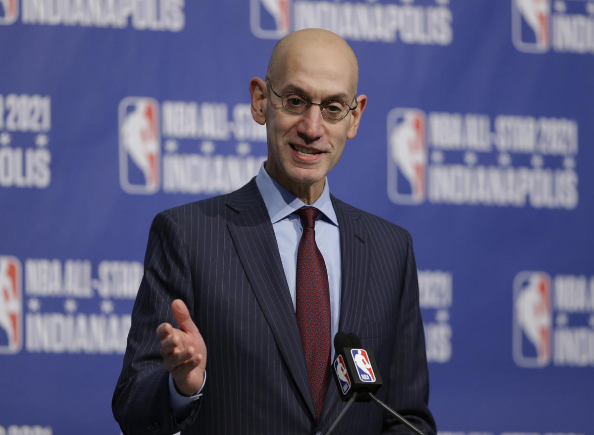 NBA commissioner Adam Silver addresses the media.