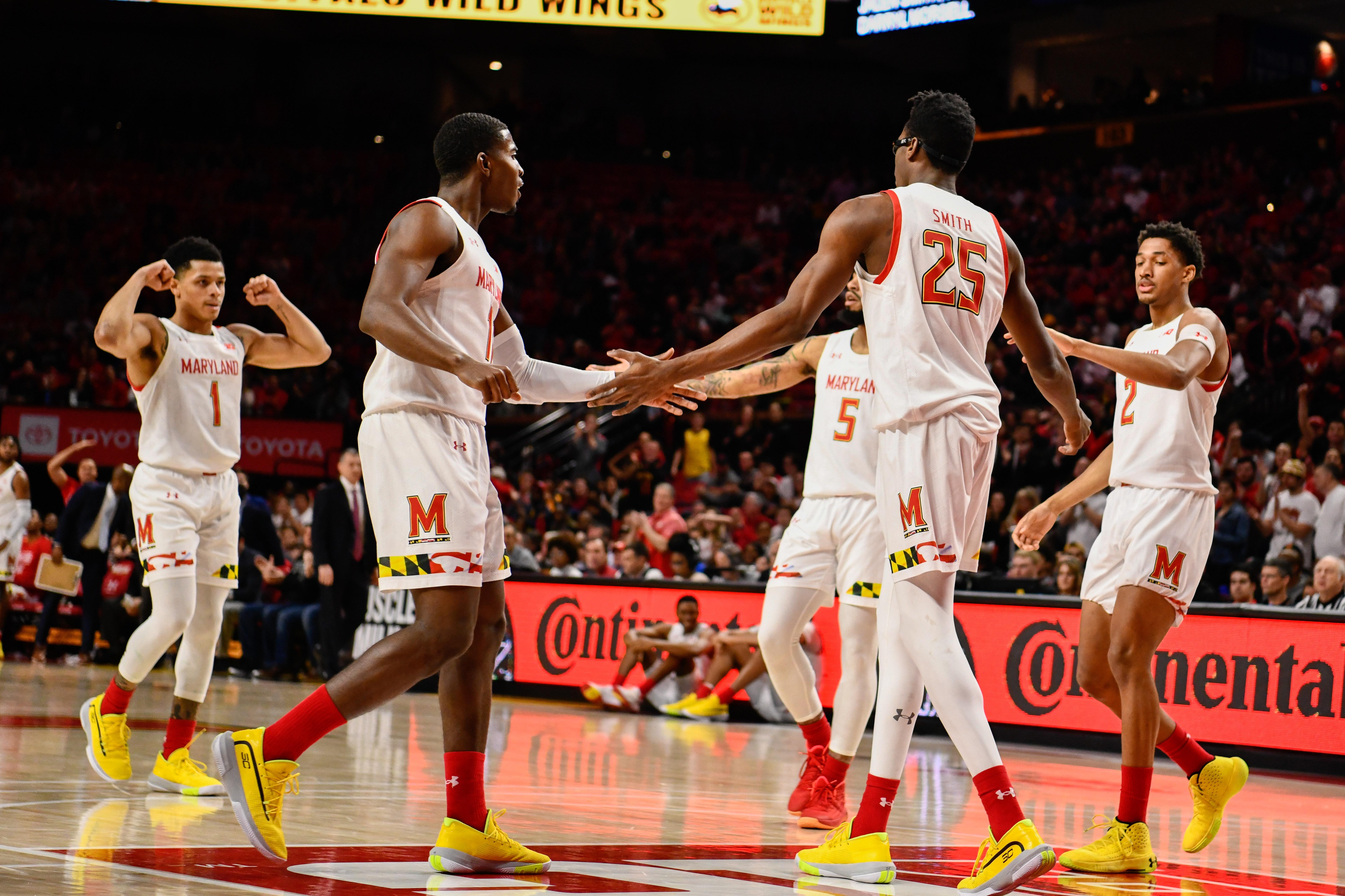 Maryland basketball group celebration, Northwestern, 2020