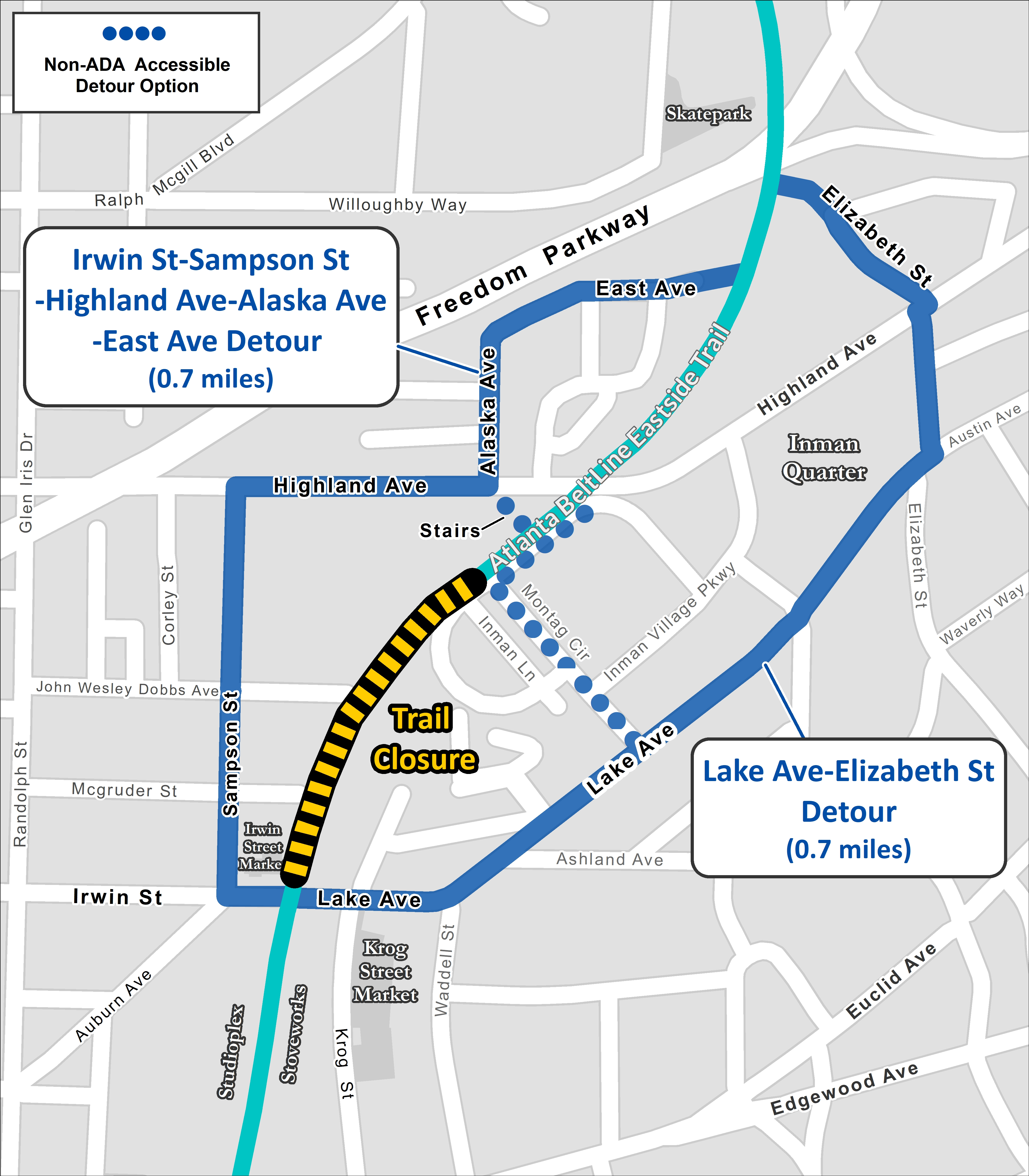 A map shows how to get around the closed section of the Beltline