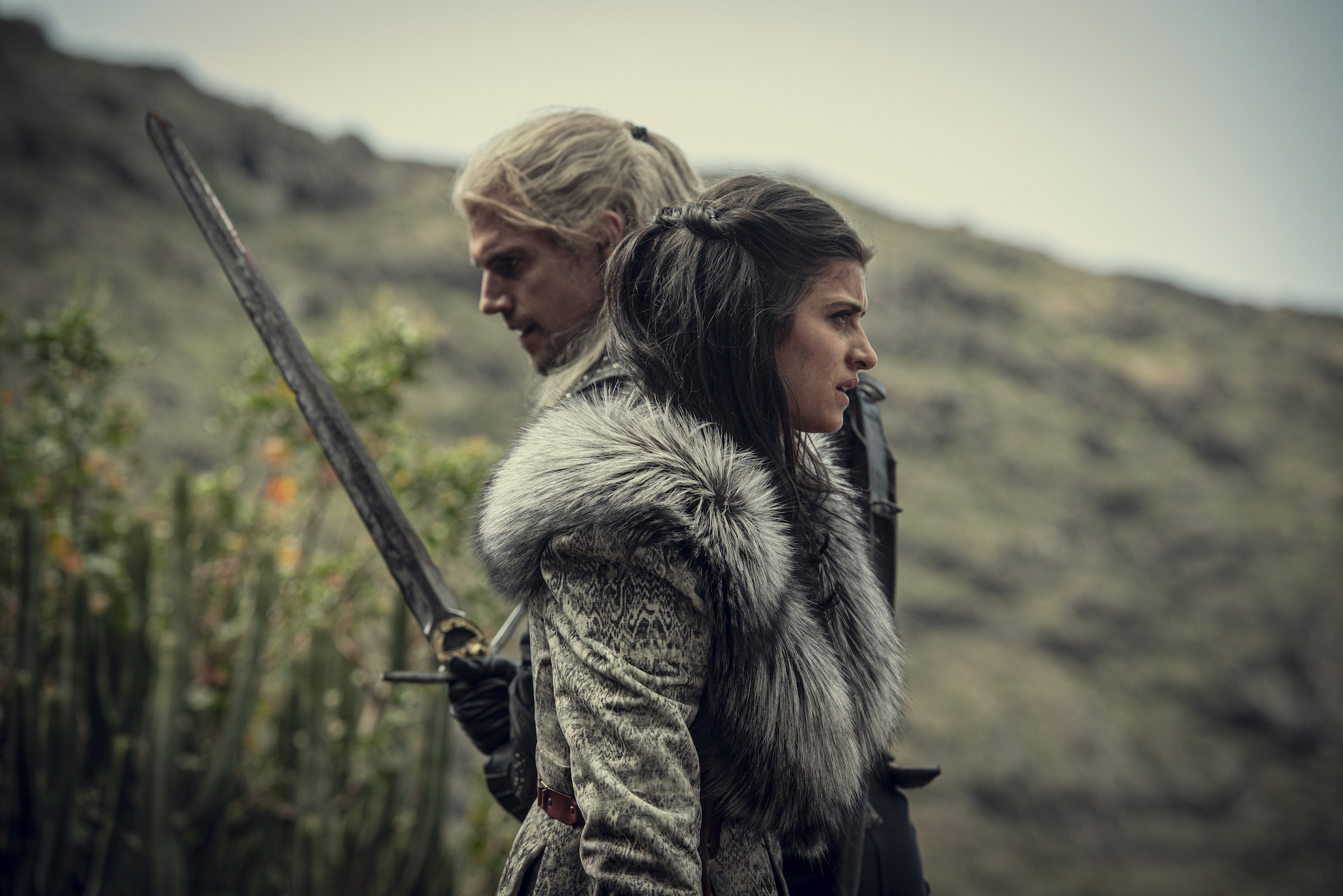 geralt and yennefer stand side by side in the witcher season 1 2019