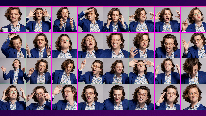Brian David Gilbert making lots of over-the-top facial expressions