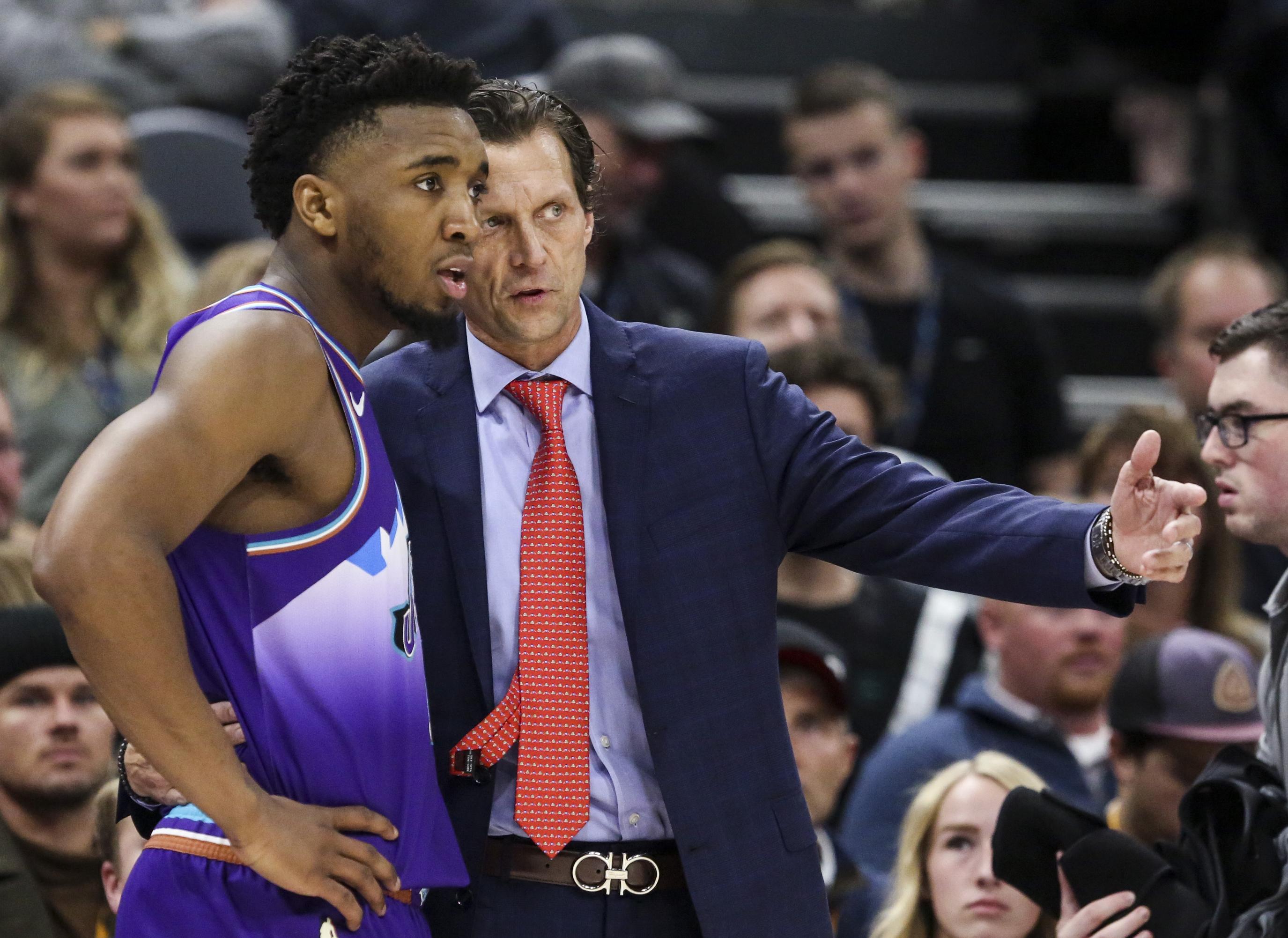 Jazz head coach Quin Snyder talks to guard Donovan Mitchell (45) during a break in play in the second half of an NBA basketball game at Vivint Smart Home Arena in Salt Lake City on Saturday, Dec. 7, 2019. The Jazz won in regulation 126-112 over the Grizzlies.