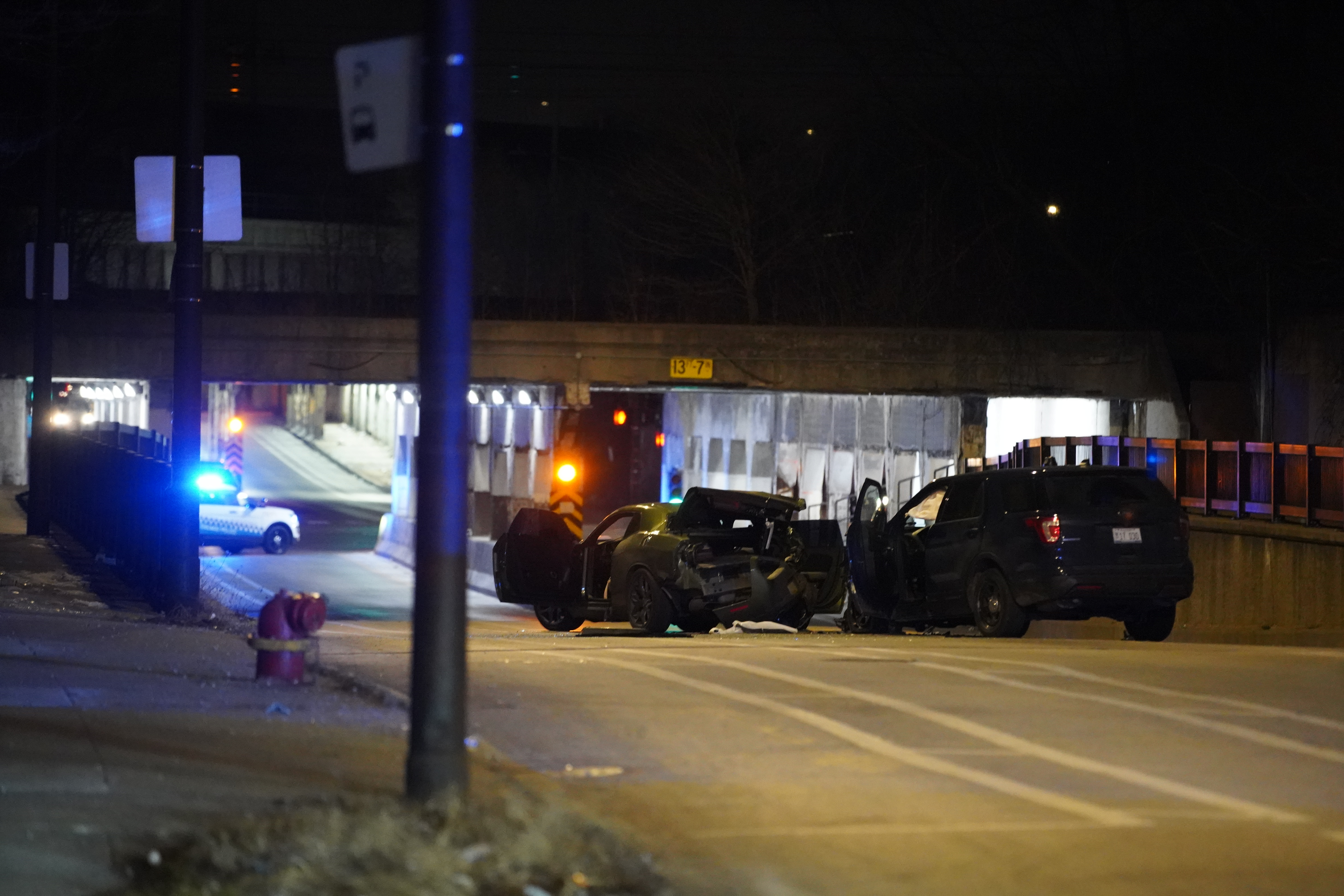 Several people, including two Chicago police officers, were injured in a crash Feb. 20, 2020, in the 1200 block of East 75th Street.