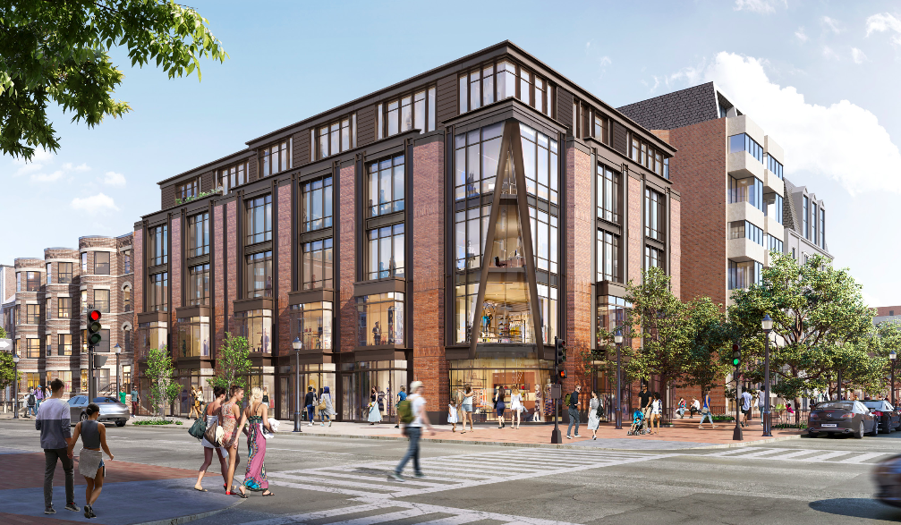 Rendering of a five-story, glass-and-brick building on a street corner.