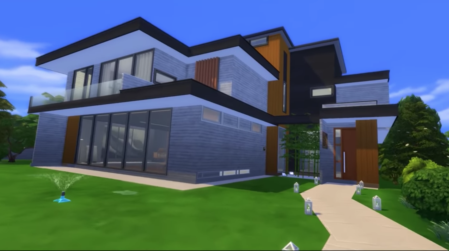 Digital rendering of a three story house with a front lawn and a walkway.