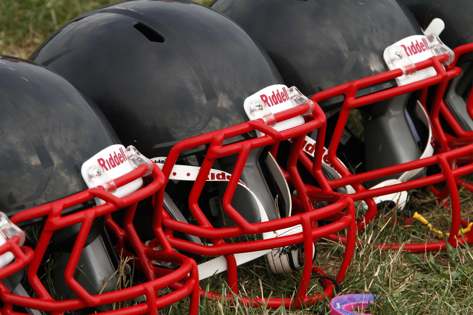 In August 2012, these are new football helmets that were given to a group of youth football players from the Akron Parents Pee Wee Football League in Akron, Ohio. As a result of player's getting hurt, these helmets, partially sponsored by the NFL were given to thousands nationwide to improve player safety.