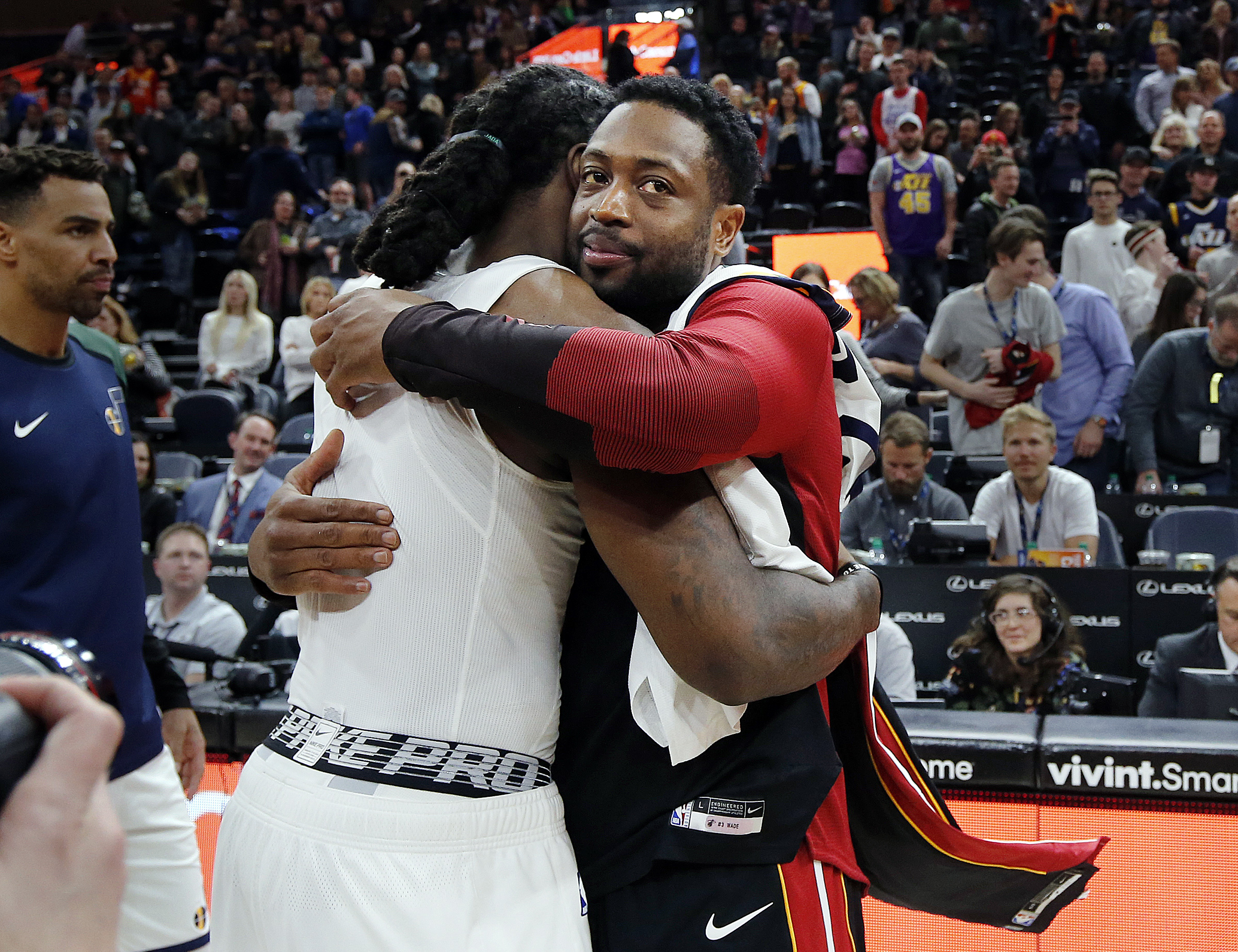 Miami Heat legend Dwayne Wade recently revealed in a new interview that he still worries about not having any money, according to Yahoo! Finance. Utah Jazz forward Jae Crowder, left, and Miami Heat guard Dwyane Wade hug after exchanging jerseys following Wade's last NBA game in Salt Lake City on Wednesday, Dec. 12, 2018.