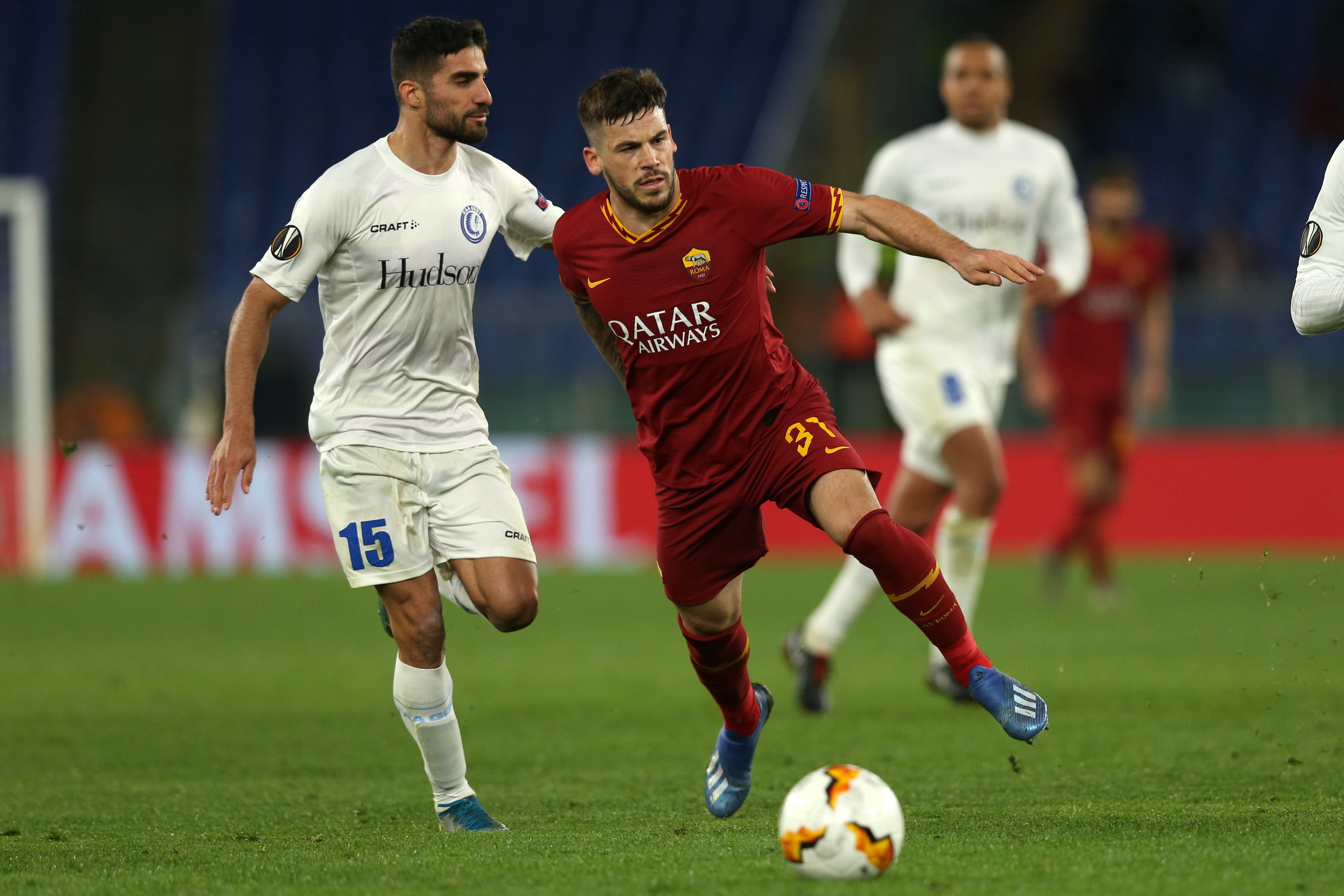 Carles Perez (Roma) in action during the Europa League match...
