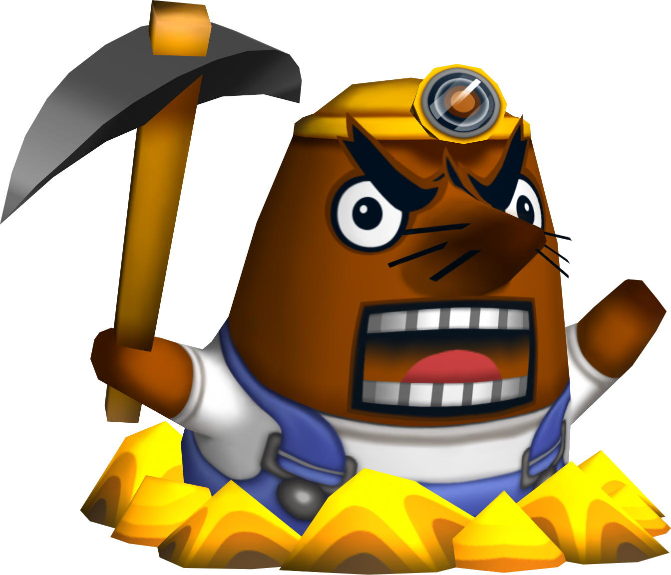 Mr Resetti, the angry mole of Animal Crossing, in a miner's hat, brandishing a pickaxe and making an angry face