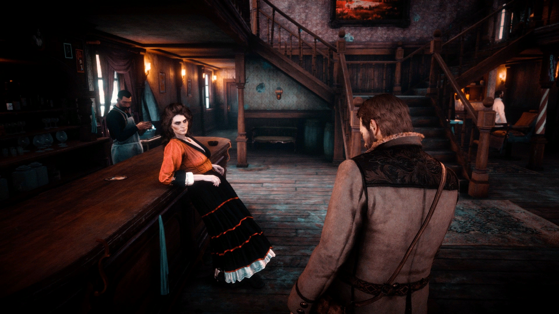 Screen from modded Red Dead Redemption 2 showing Arthur Morgan being propositioned by a prostitute.